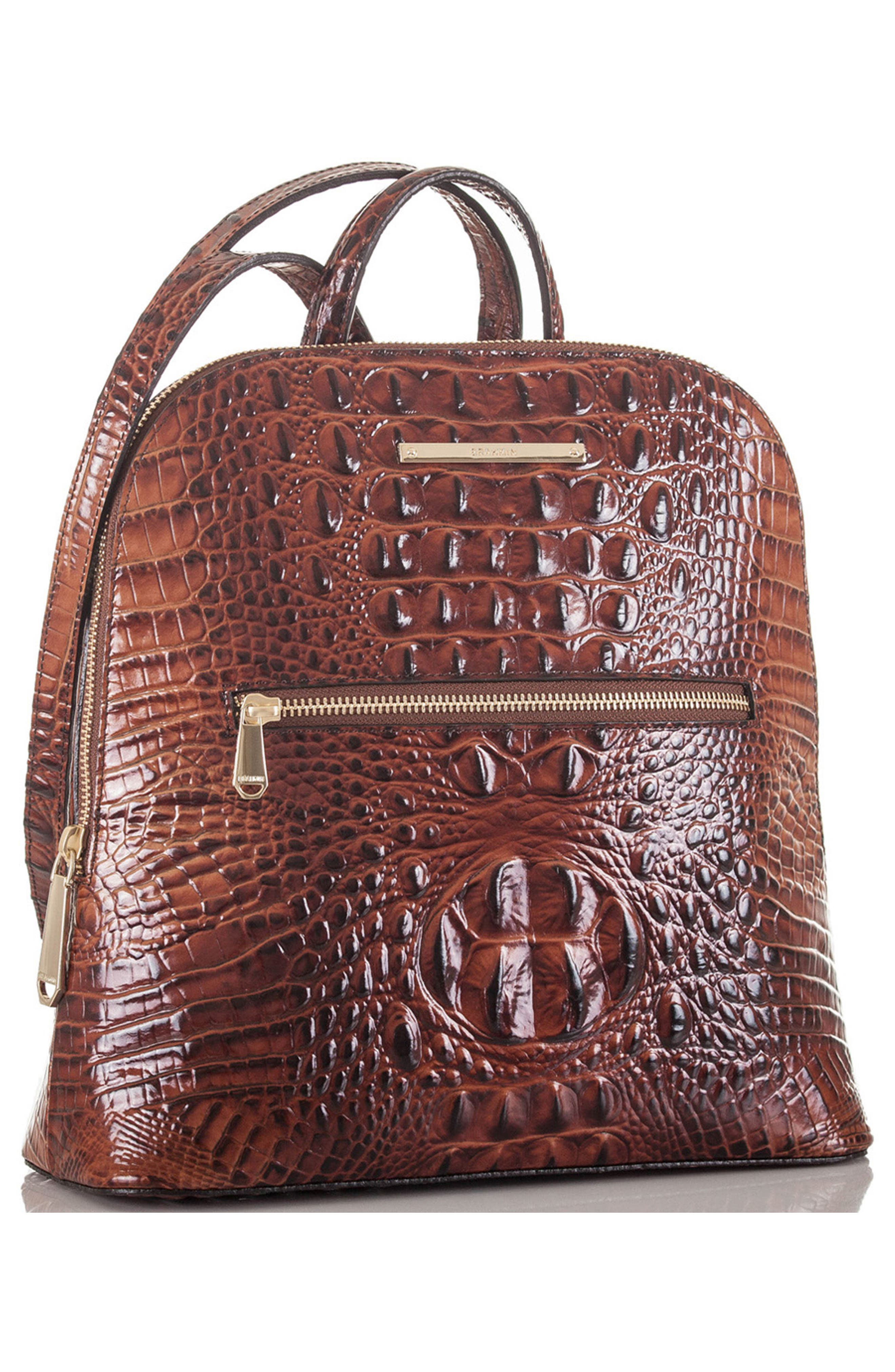 Felicity Croc Embossed Leather Backpack,                             Alternate thumbnail 5, color,                             PECAN