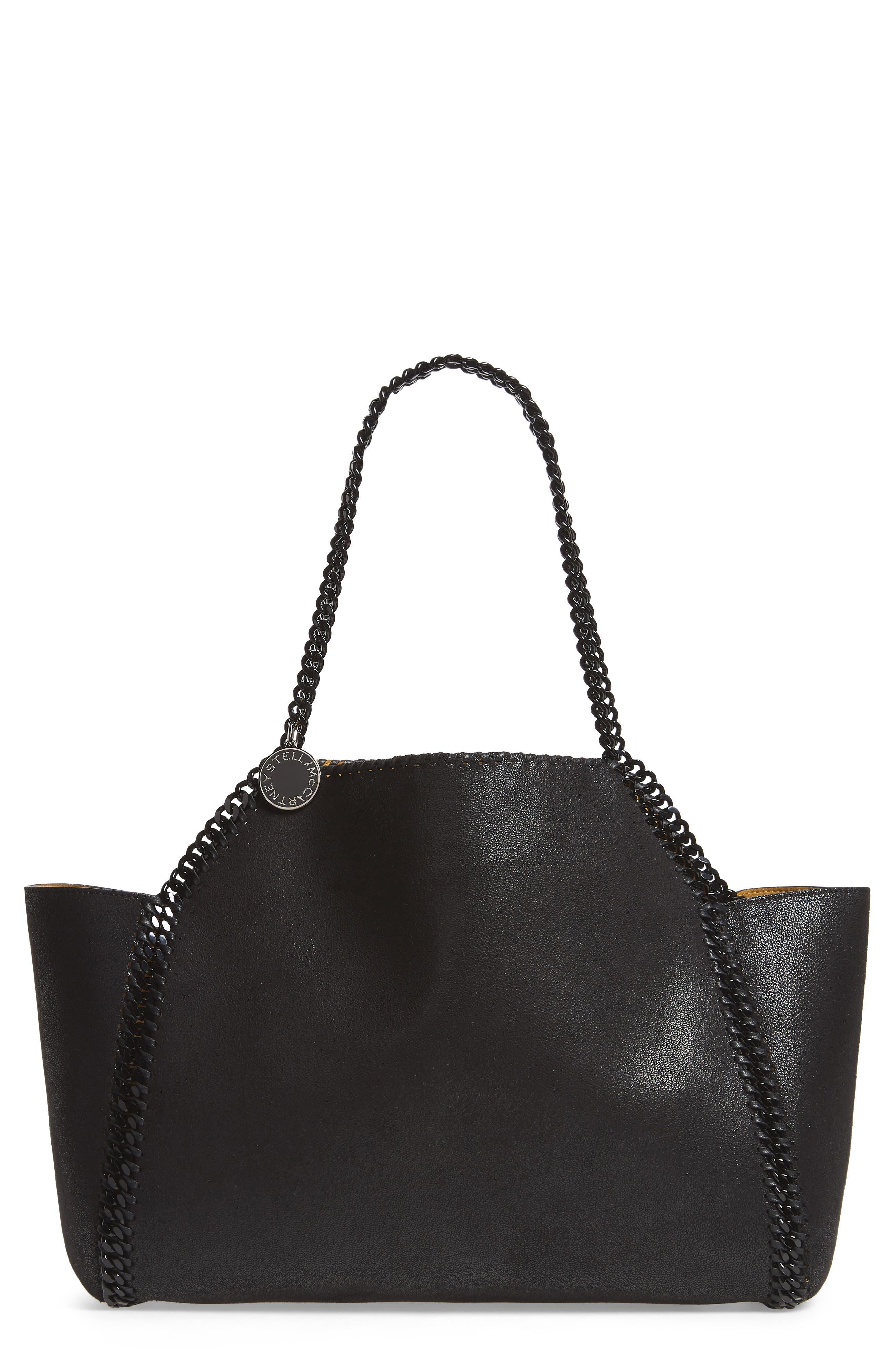 Falabella Small Reversible Faux Leather Tote,                         Main,                         color, BLACK