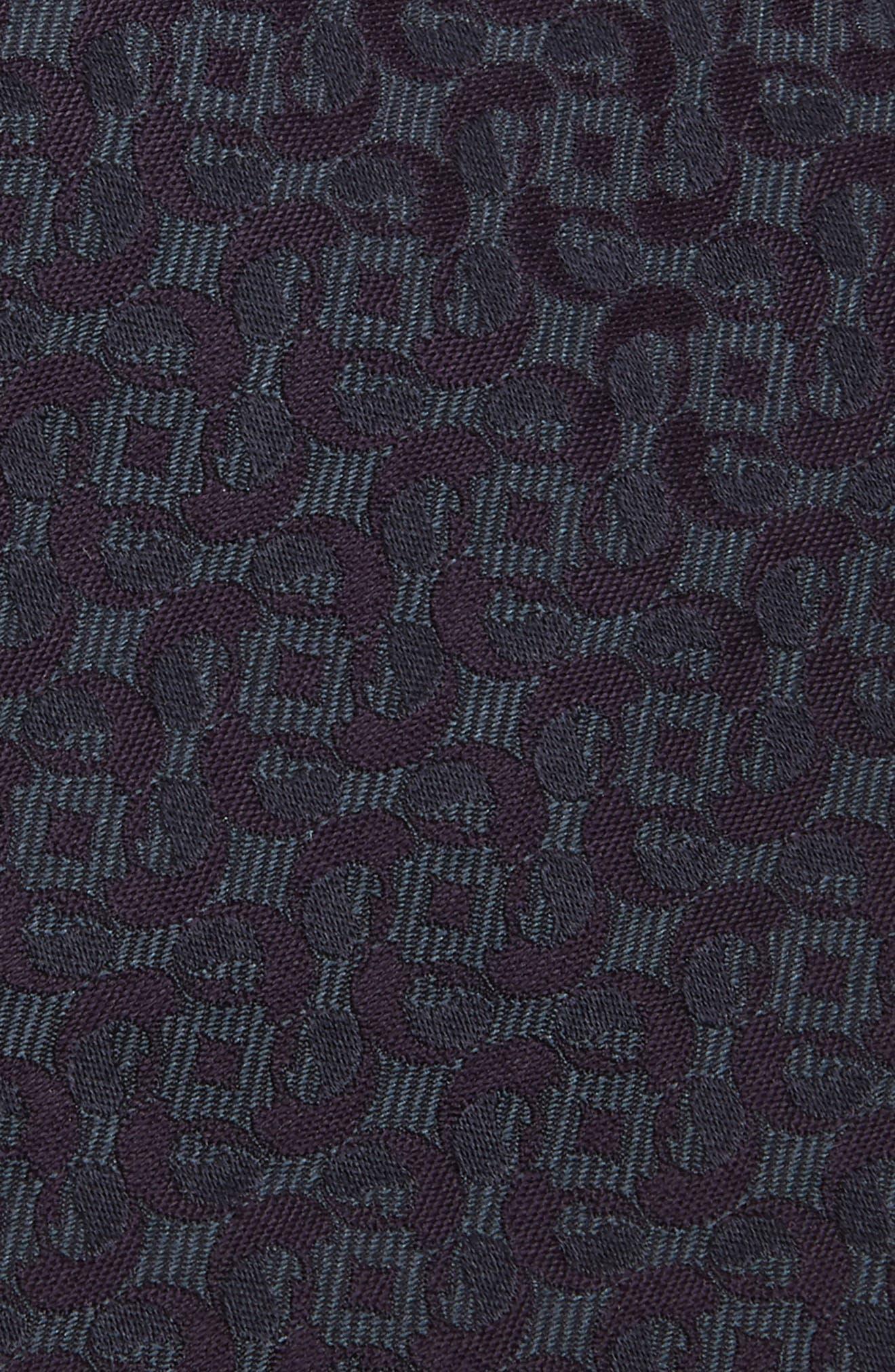 Geometric Paisley Silk Tie,                             Alternate thumbnail 2, color,                             PURPLE