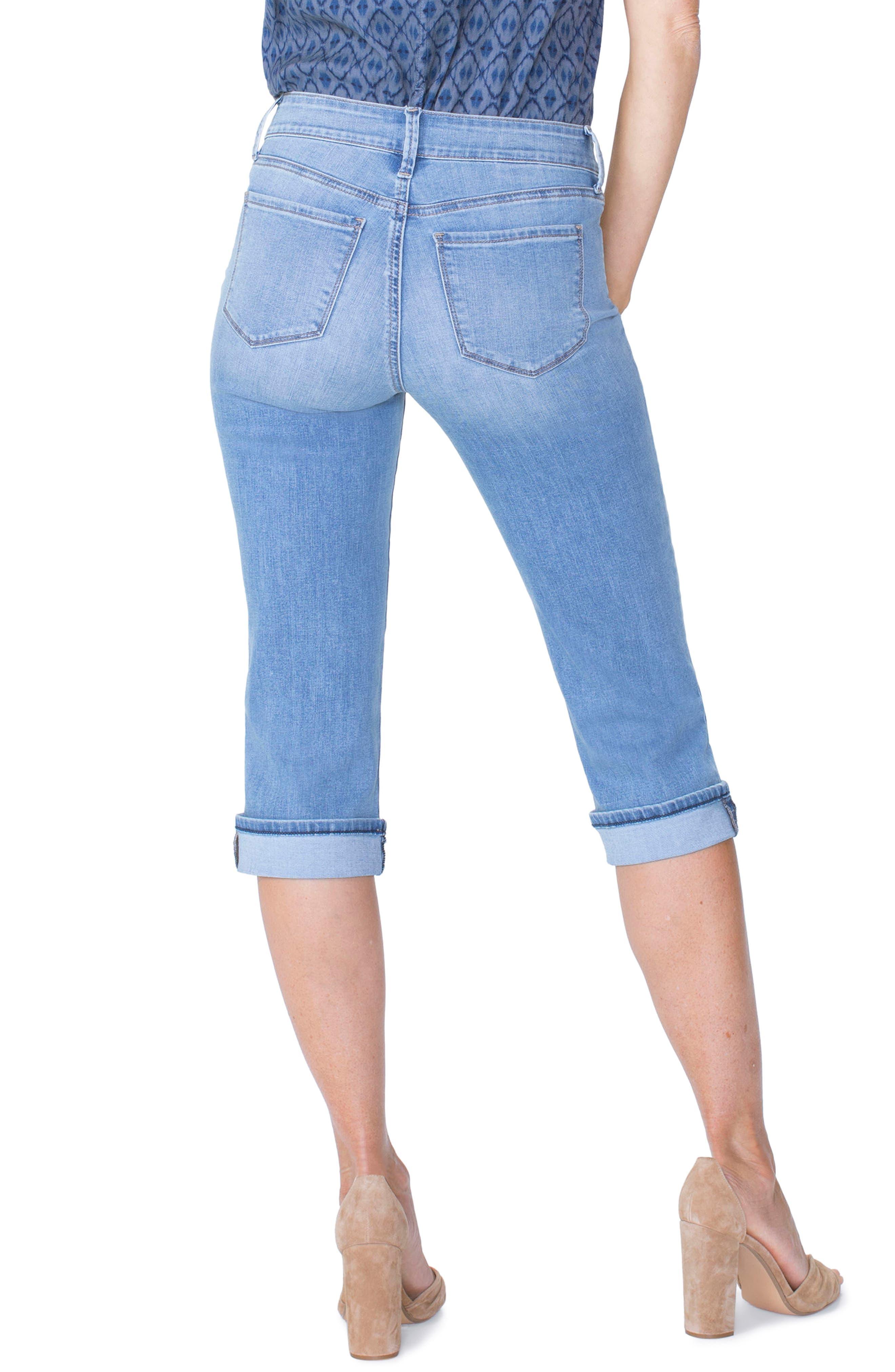 Marilyn High Waist Cuffed Stretch Crop Jeans,                             Alternate thumbnail 2, color,                             PAMPELONNE