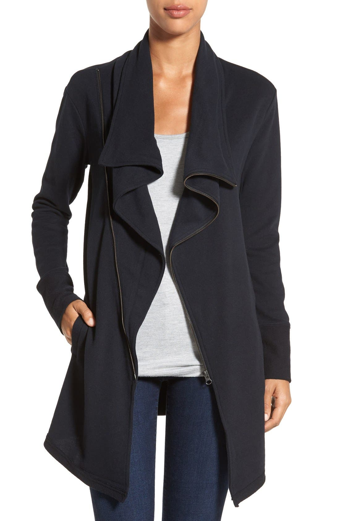Asymmetrical Drape Collar Terry Jacket,                             Main thumbnail 1, color,                             BLACK