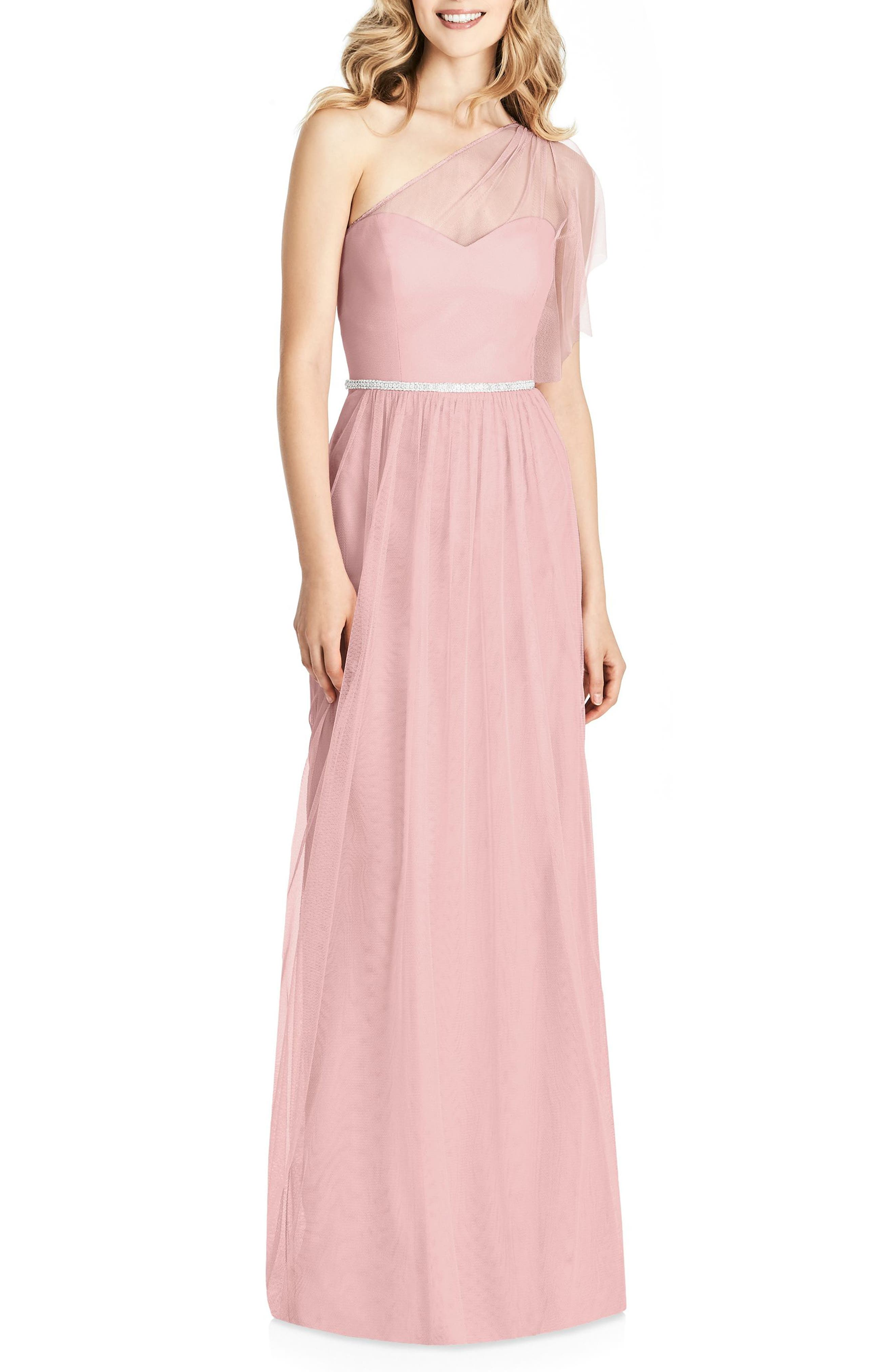 One-Shoulder Tulle Gown,                             Main thumbnail 1, color,                             ROSE