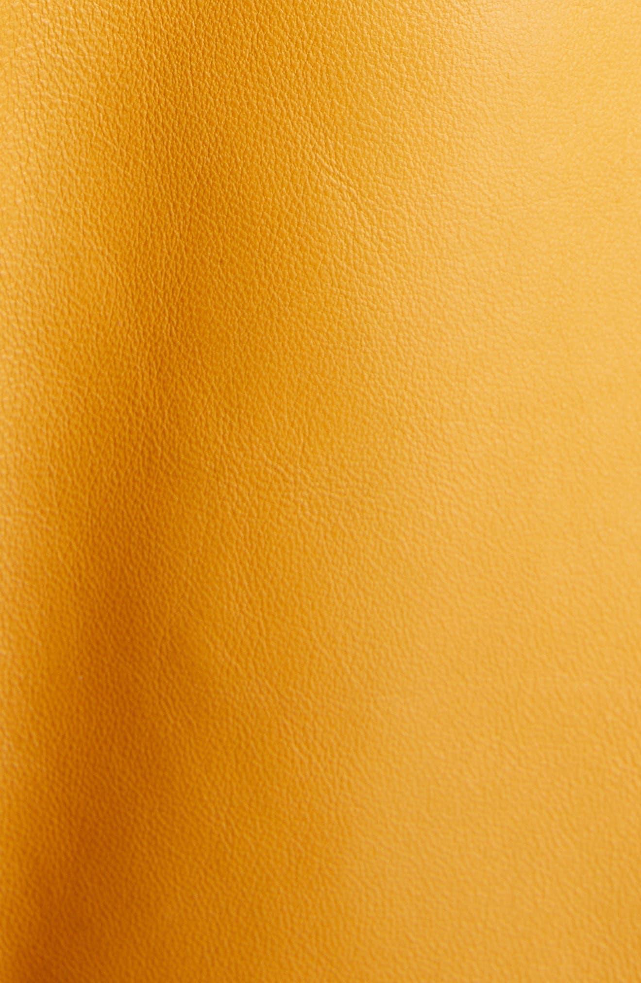 Mock Core Leather Moto Jacket,                             Alternate thumbnail 6, color,                             SUNFLOWER YELLOW