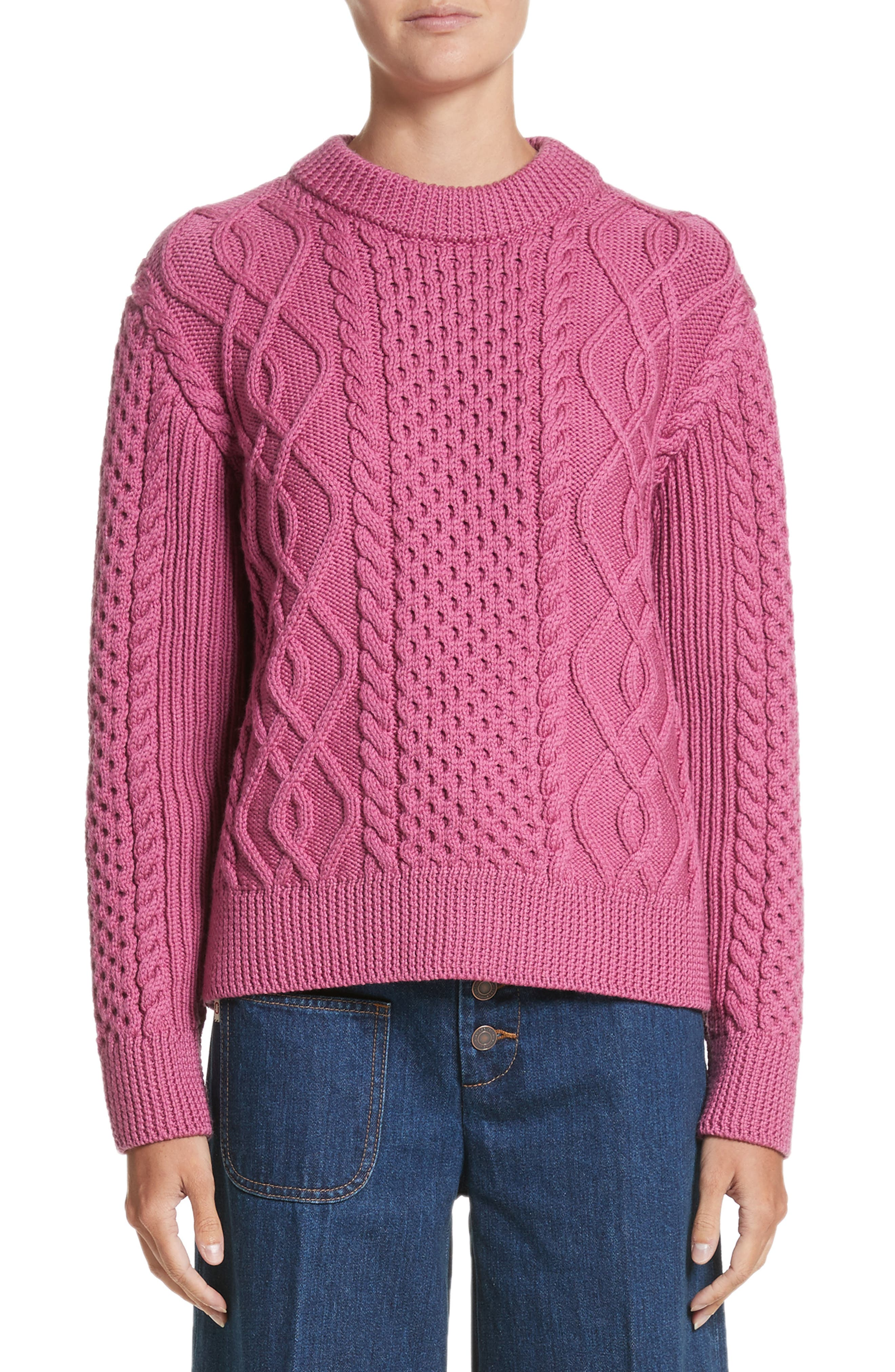 Merino Wool Cable Knit Sweater,                             Main thumbnail 1, color,