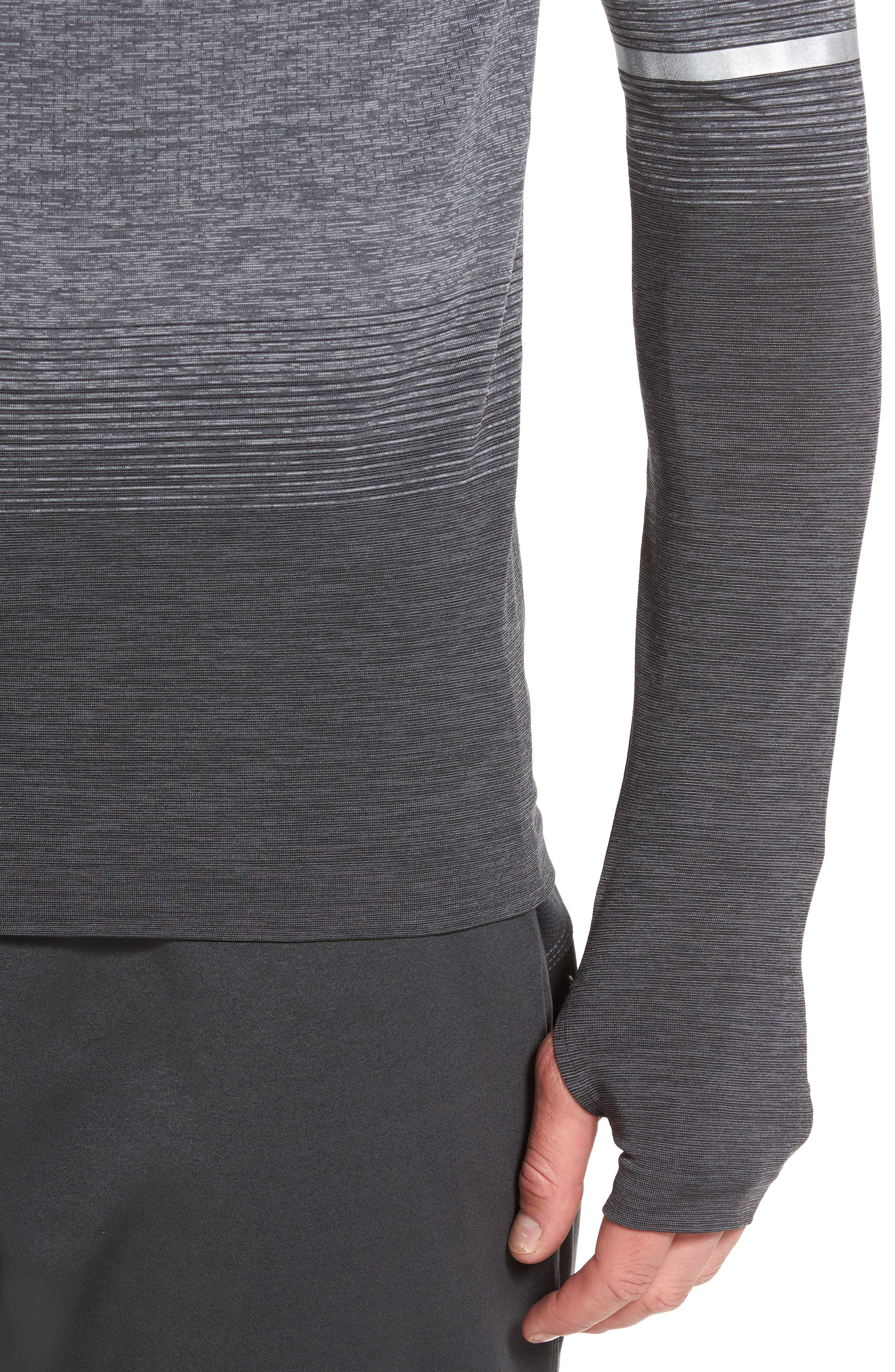 Dry Running Mock Neck Long Sleeve T-Shirt,                             Alternate thumbnail 4, color,                             ANTHRACITE/ WOLF GREY/ GREY