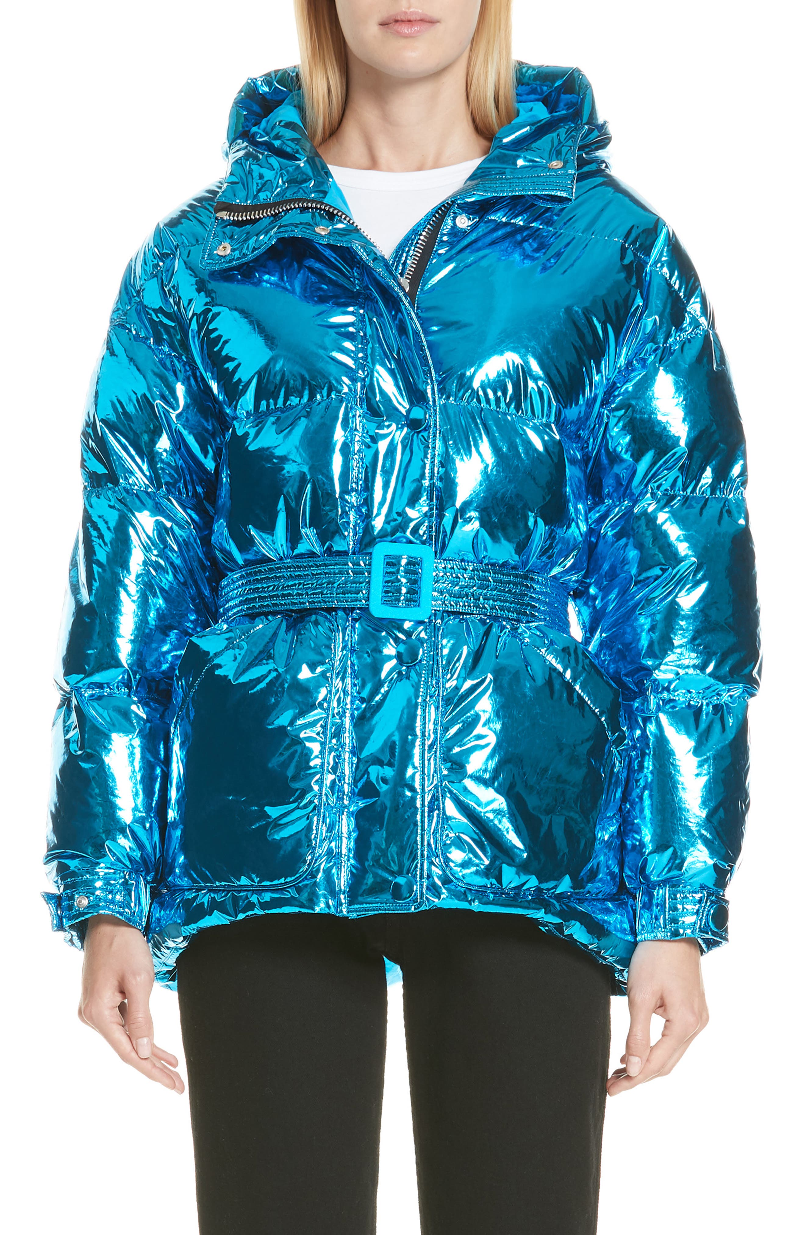 Michelin Hooded Down Puffer Coat,                         Main,                         color, BLUE FOIL
