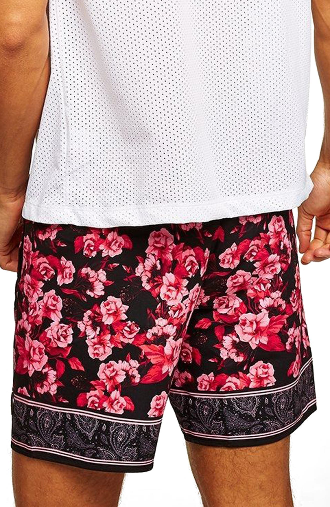Floral Pink Swim Trunks,                             Alternate thumbnail 2, color,                             PINK MULTI