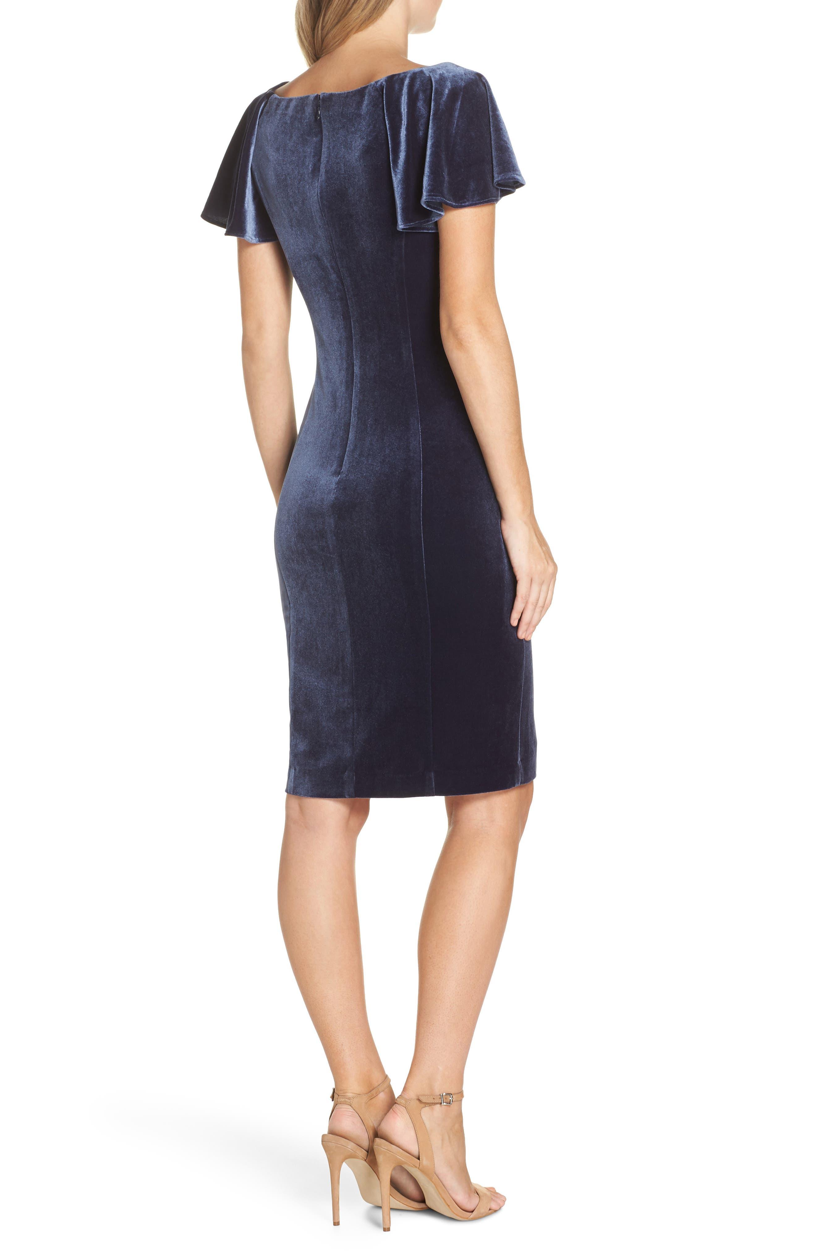 Scoop Neck Flutter Sleeve Velvet Sheath Dress,                             Alternate thumbnail 2, color,                             BLUE STEEL