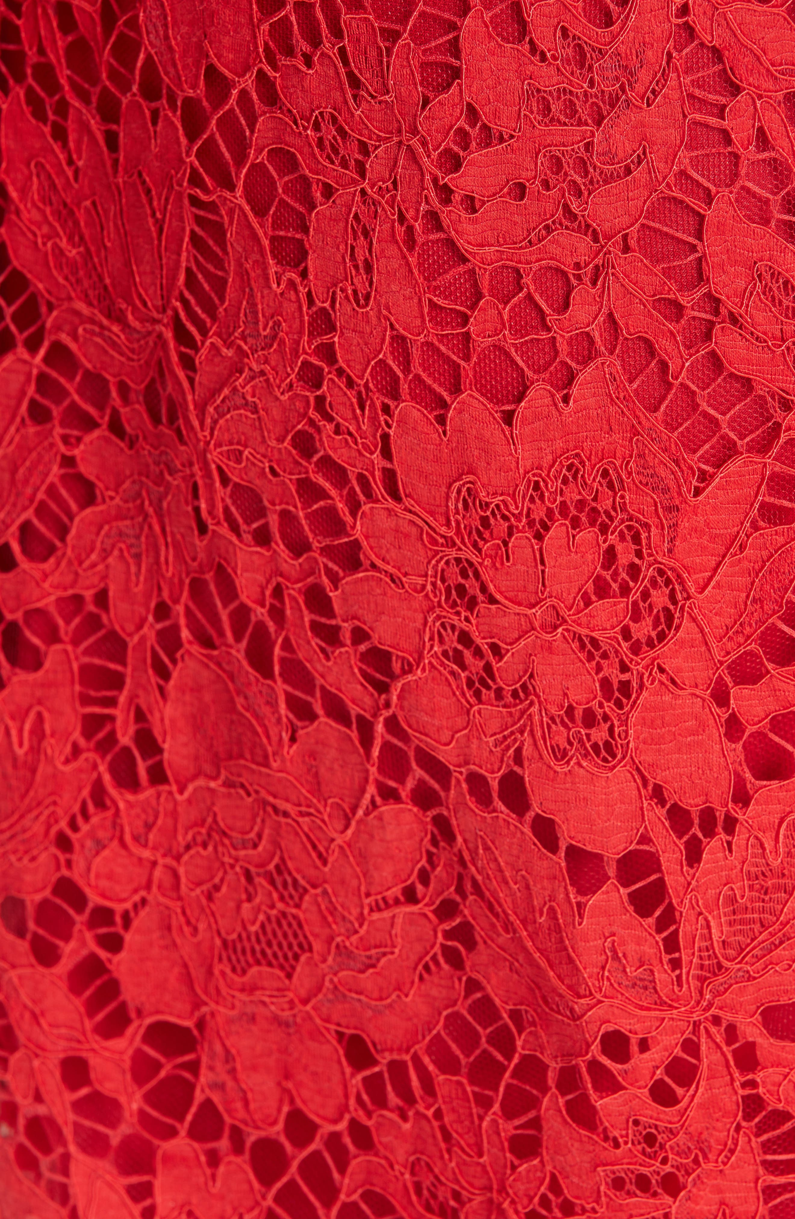 Bow Detail Lace Dress,                             Alternate thumbnail 5, color,                             RED