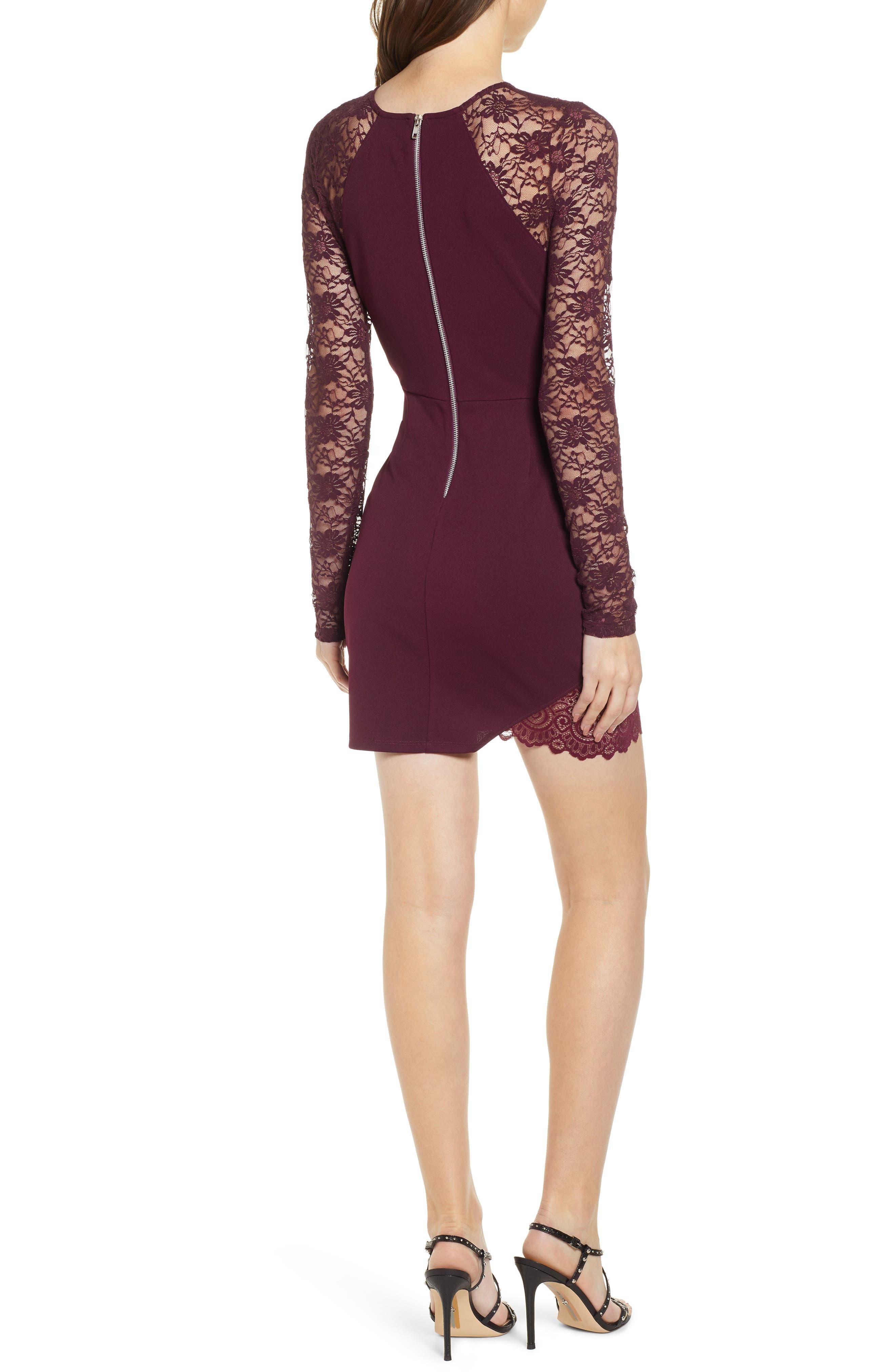 Lace Sleeve Body-Con Dress,                             Alternate thumbnail 2, color,                             PLUM