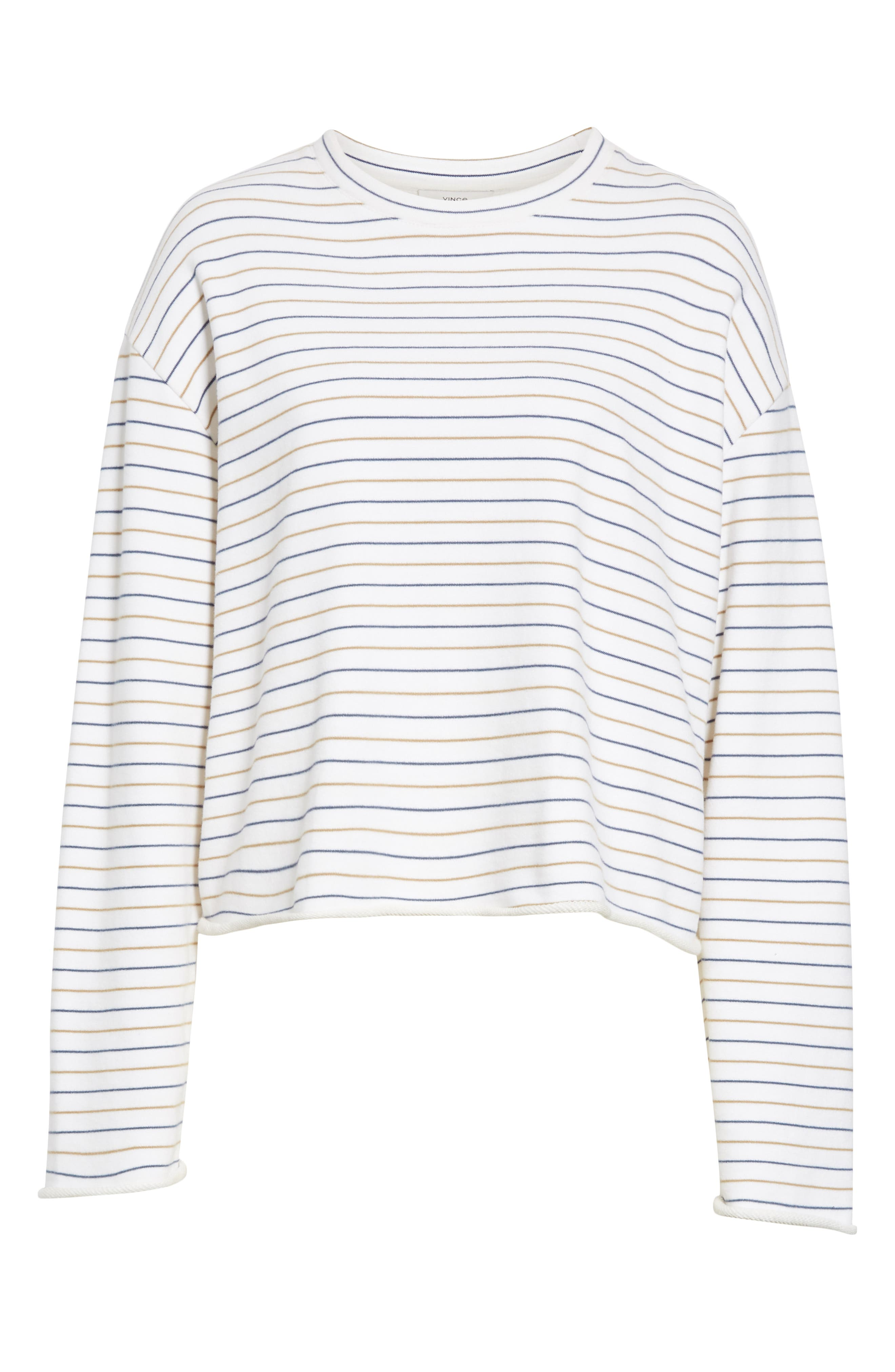 Crop Striped Sweater,                             Alternate thumbnail 6, color,                             OFF WHITE/ NAVY/ BROWN