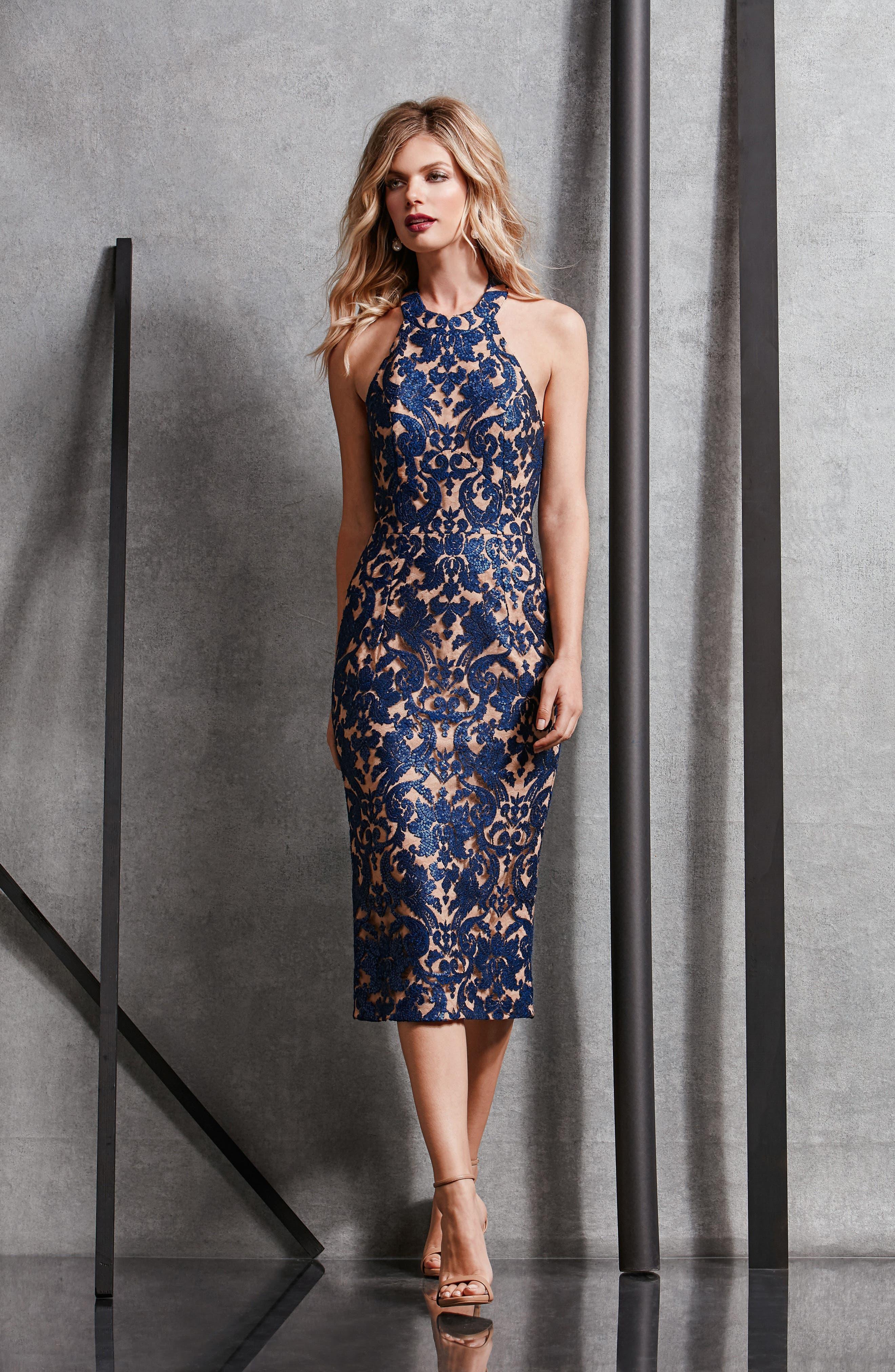 Cassie Sequin Midi Dress,                             Alternate thumbnail 28, color,