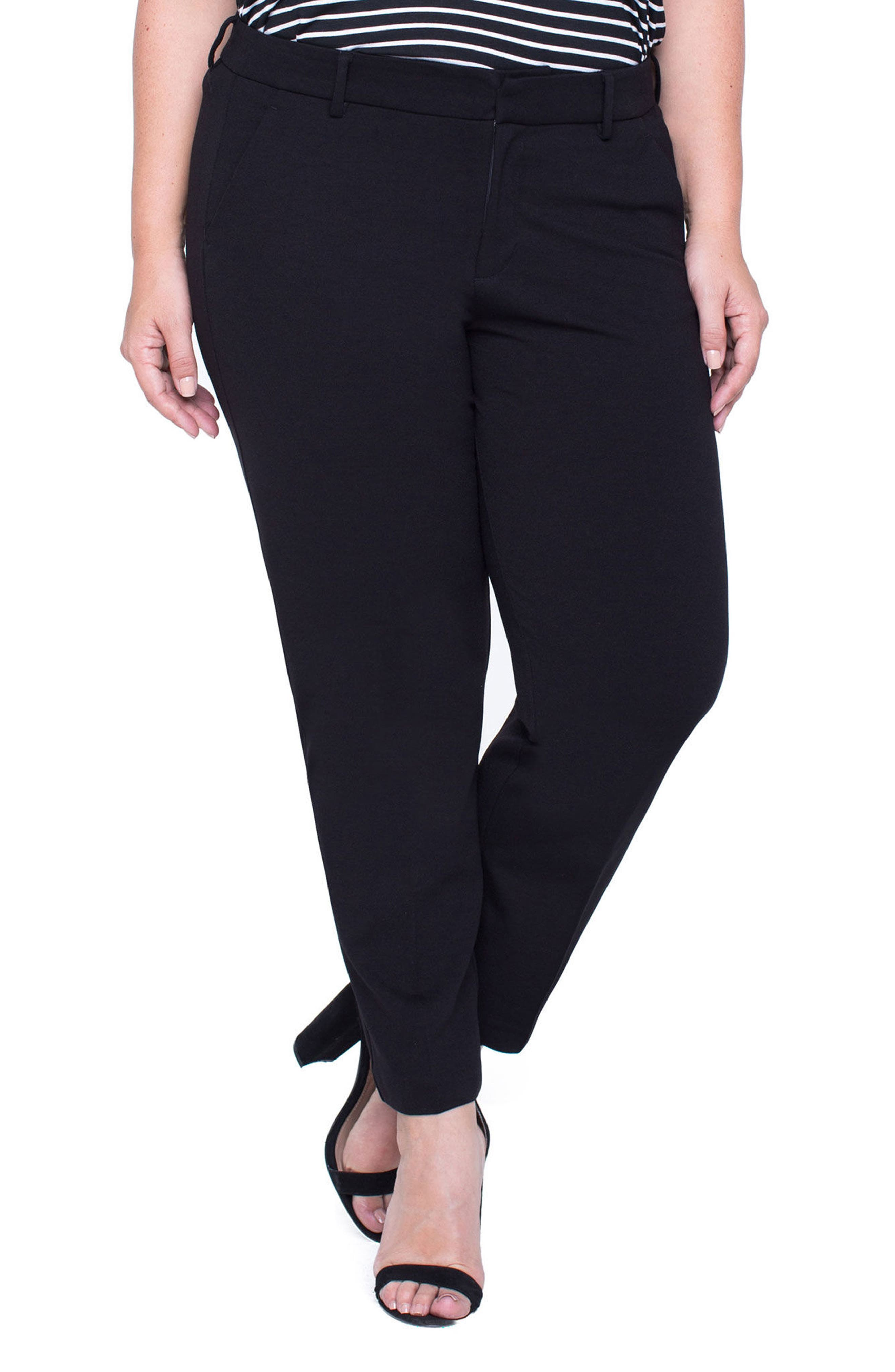 LIVERPOOL,                             Kelsey Ponte Knit Trousers,                             Main thumbnail 1, color,                             BLACK