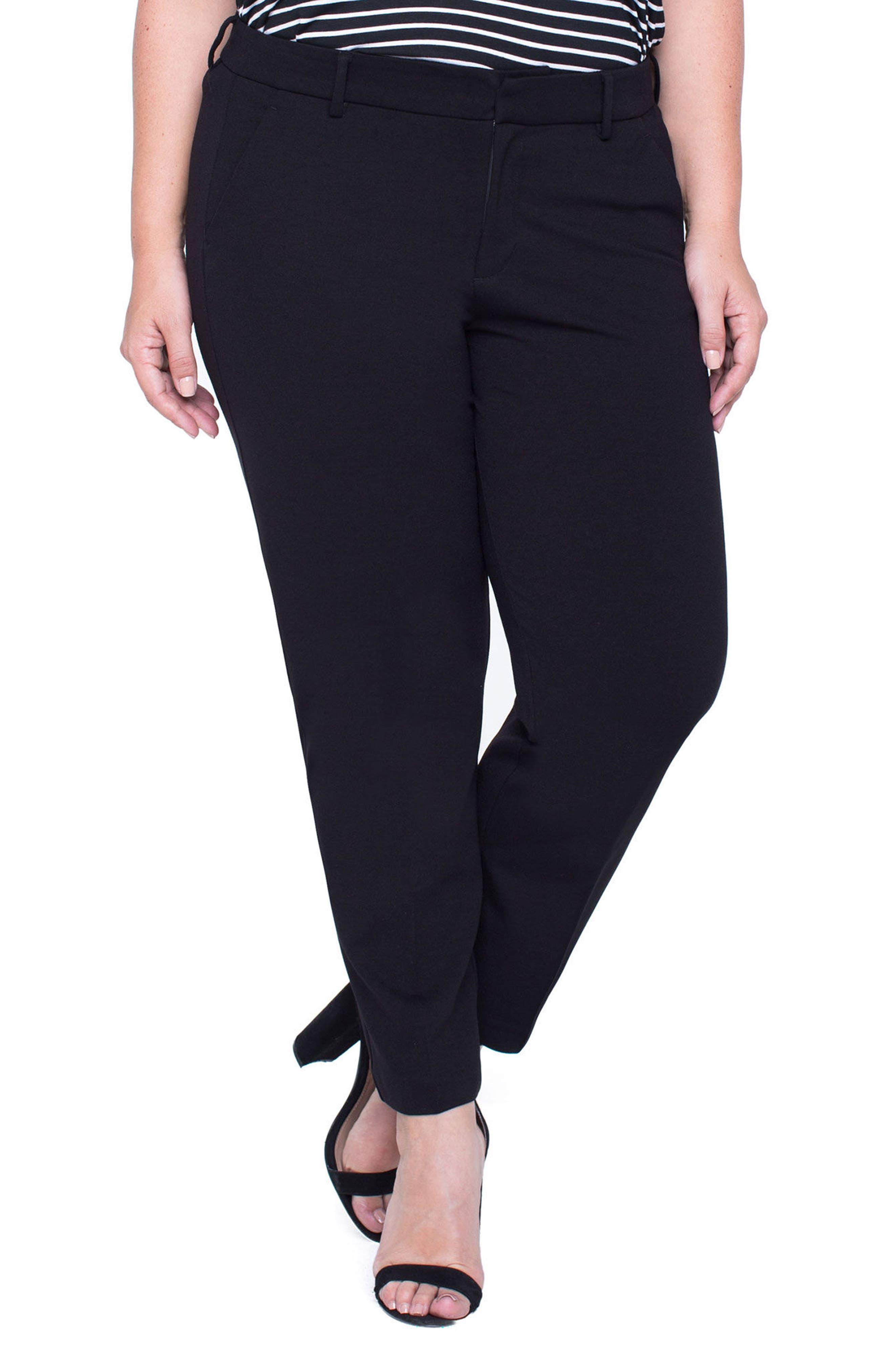 LIVERPOOL Kelsey Ponte Knit Trousers, Main, color, BLACK