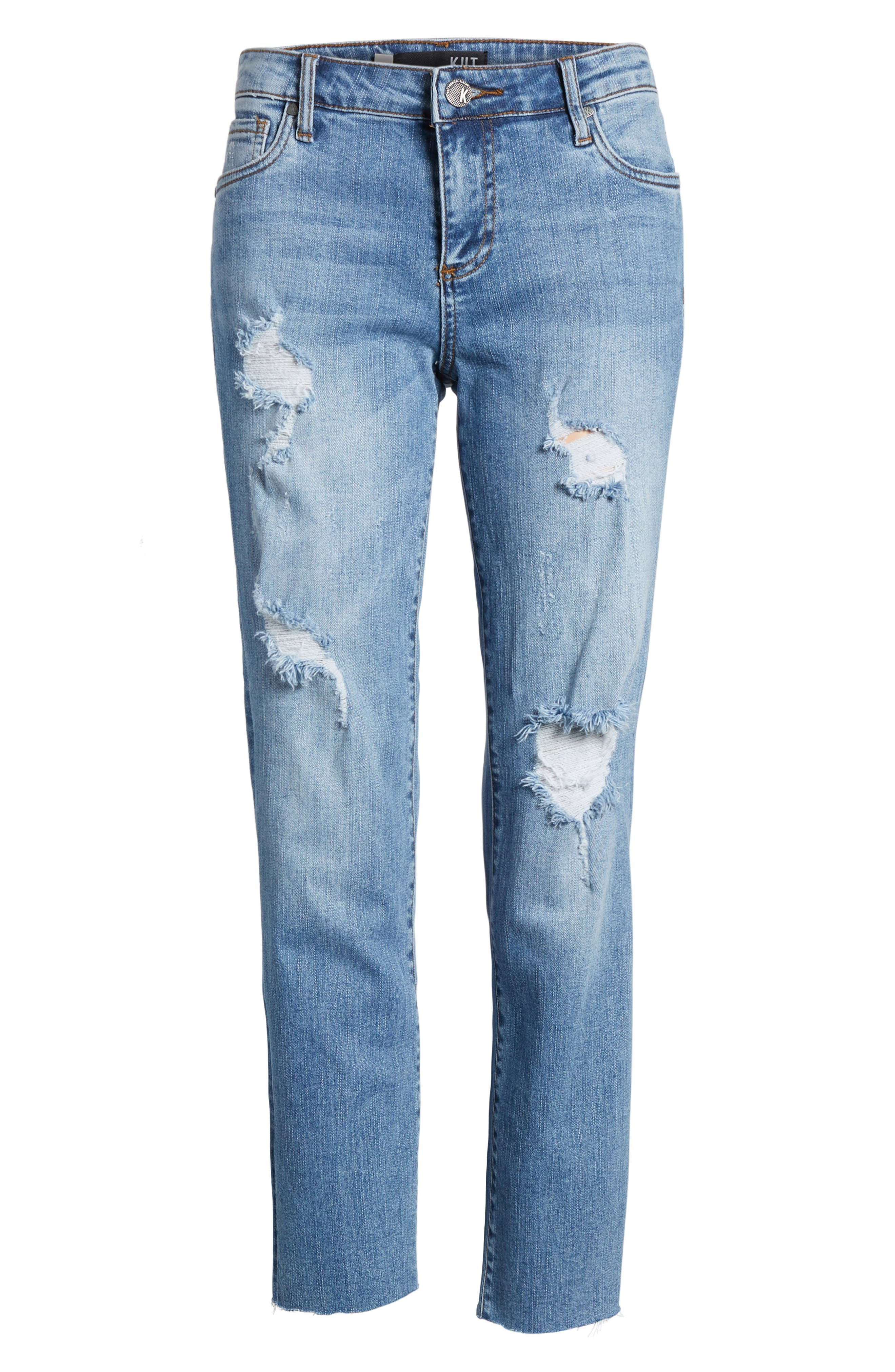 Reese Ripped Raw Edge Ankle Jeans,                             Alternate thumbnail 6, color,