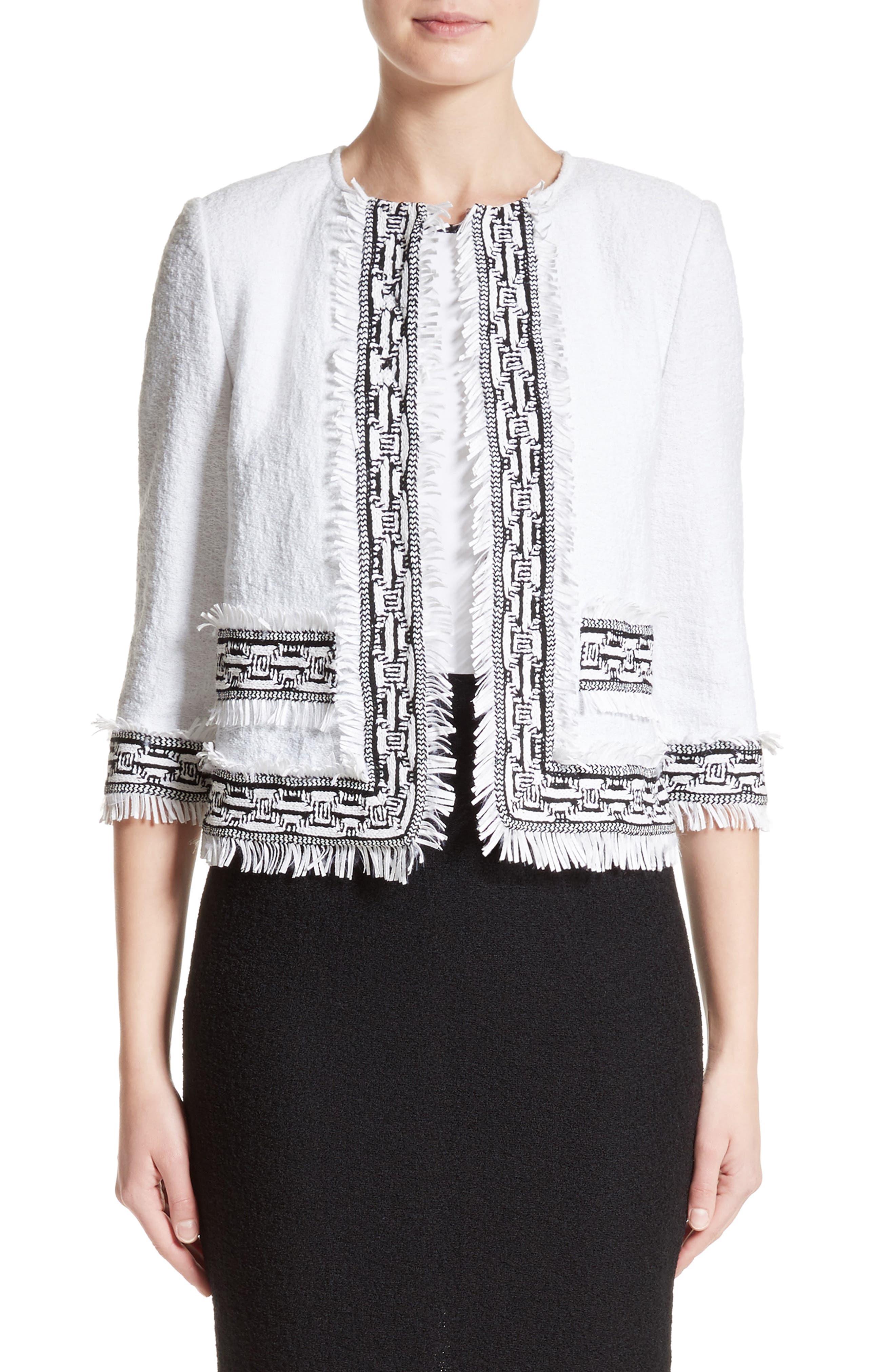 Fringe Clair Knit Jacket,                         Main,                         color, 100
