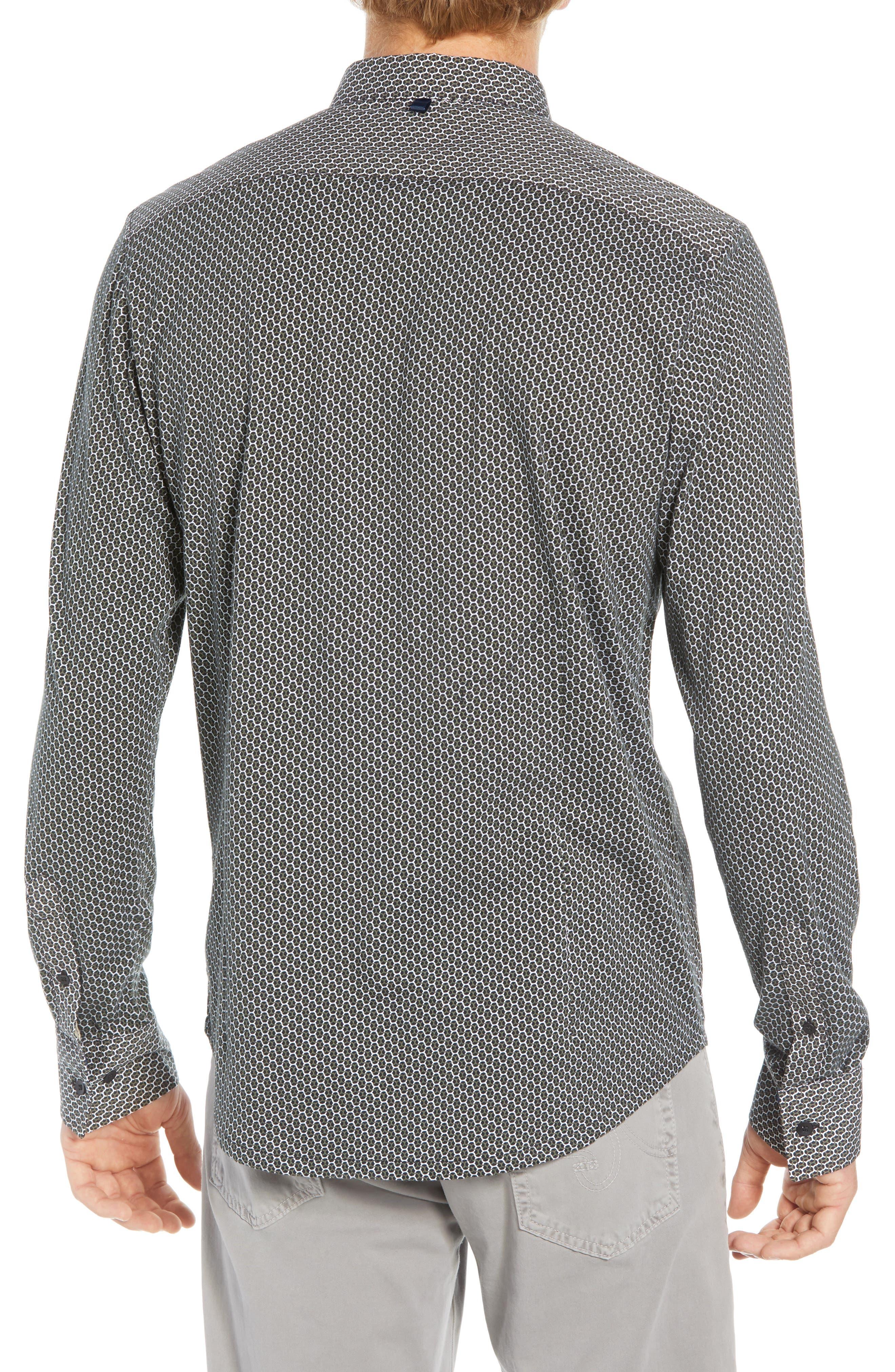 Reworked Slim Fit Print Sport Shirt,                             Alternate thumbnail 3, color,                             BLACK/ GREEN