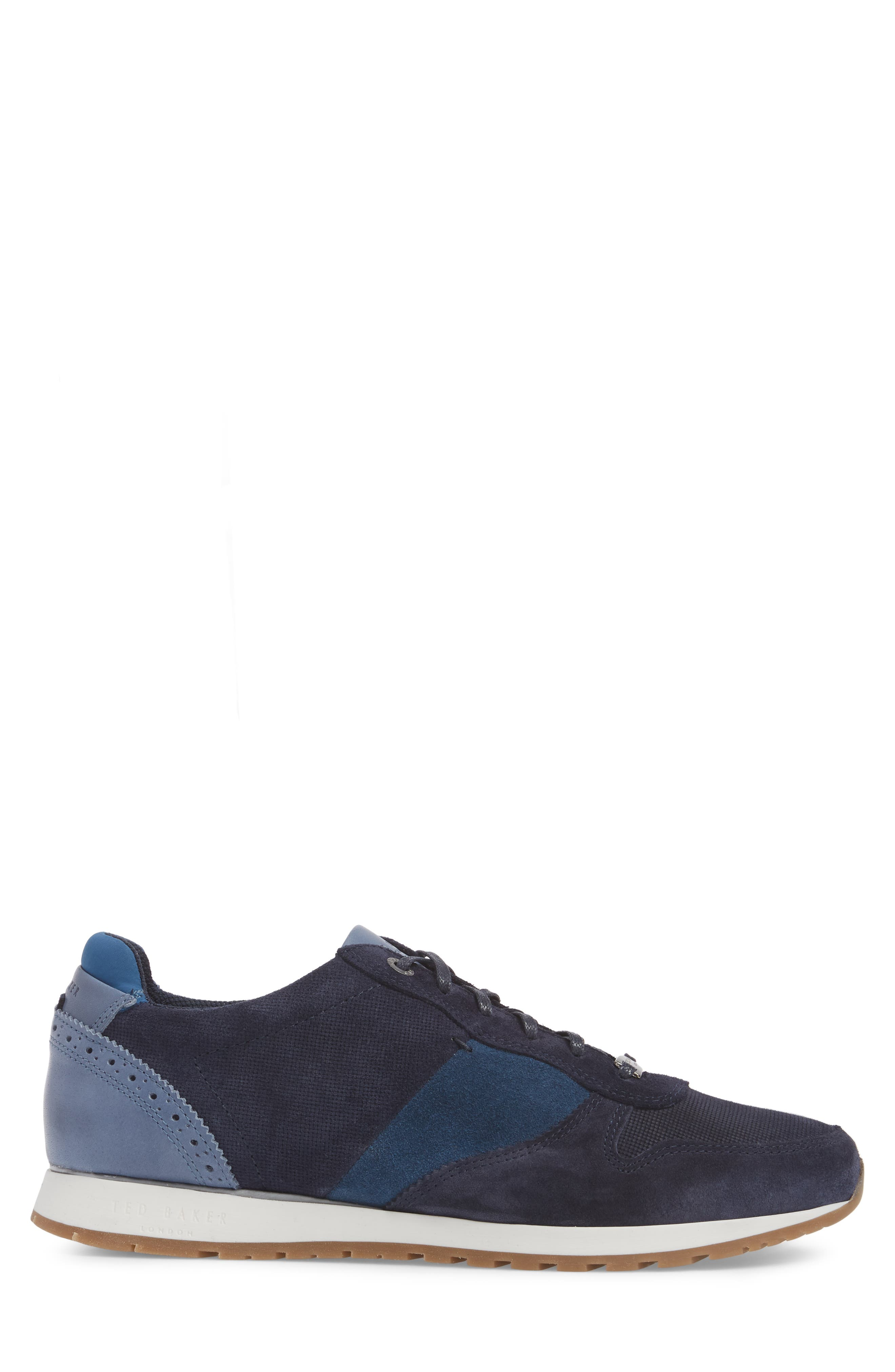 Shindls Low Top Sneaker,                             Alternate thumbnail 3, color,                             BLUE LEATHER/ SUEDE