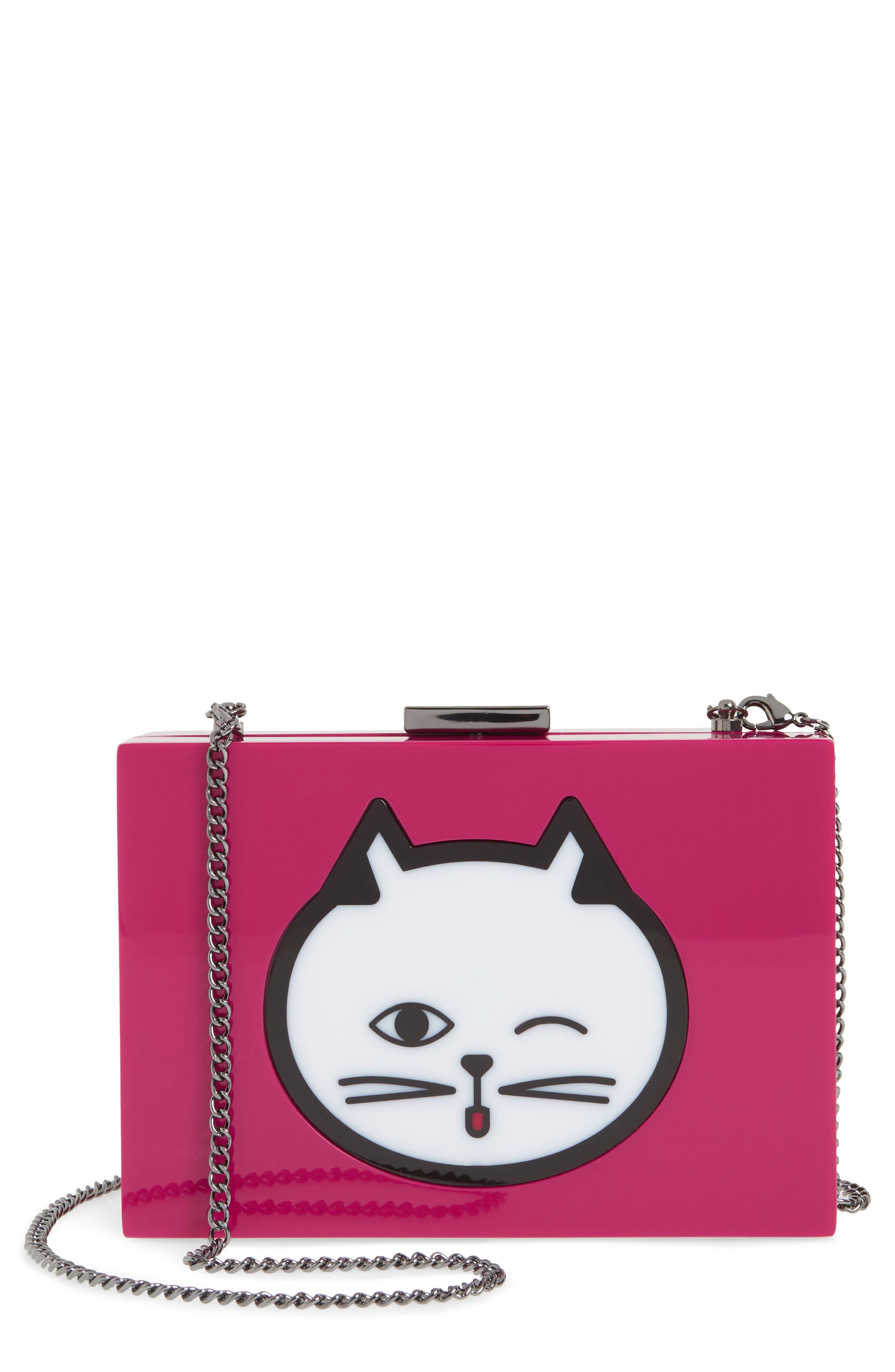 Cat Expressions Box Clutch,                         Main,                         color,