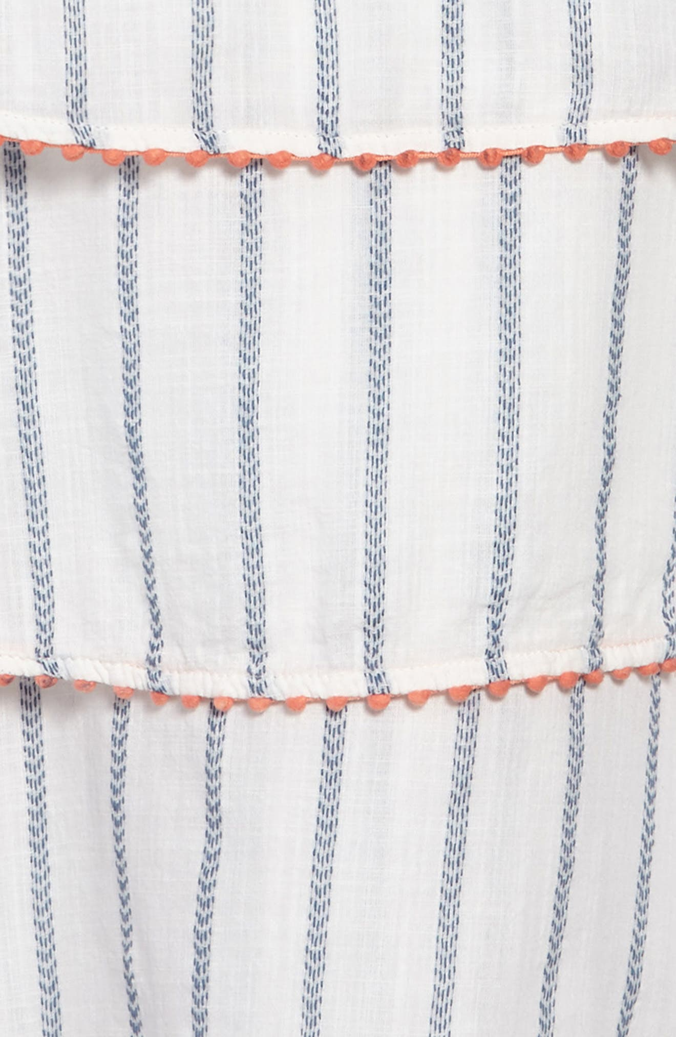 Tiered Woven Dress,                             Alternate thumbnail 3, color,                             WHITE- BLUE STRIPE