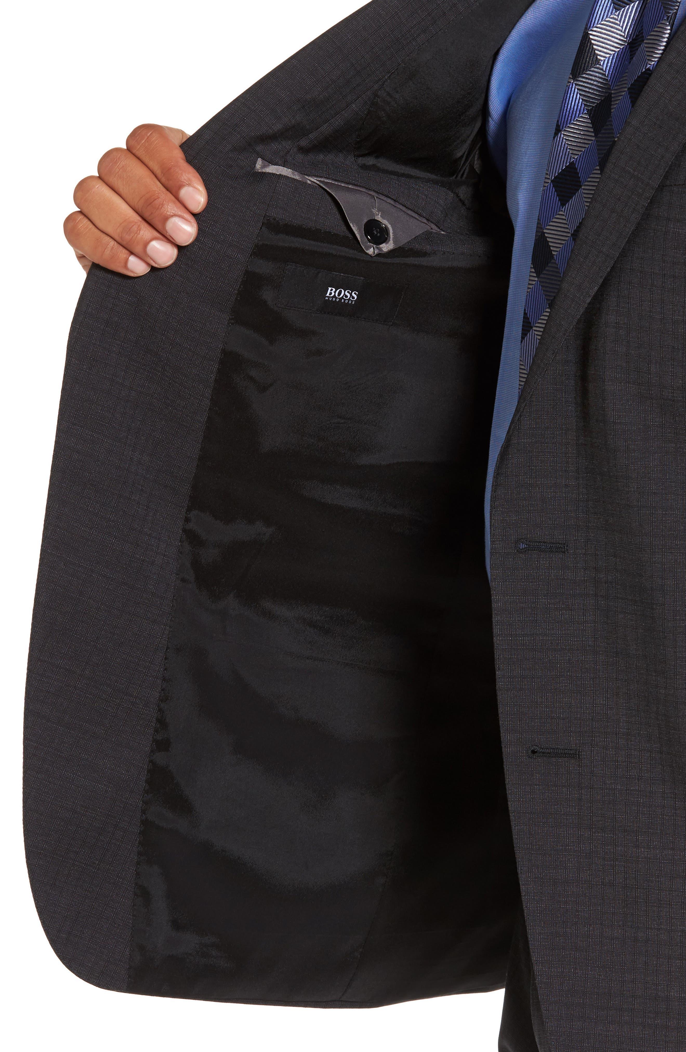 Huge/Genius Trim Fit Check Wool Suit,                             Alternate thumbnail 4, color,                             061