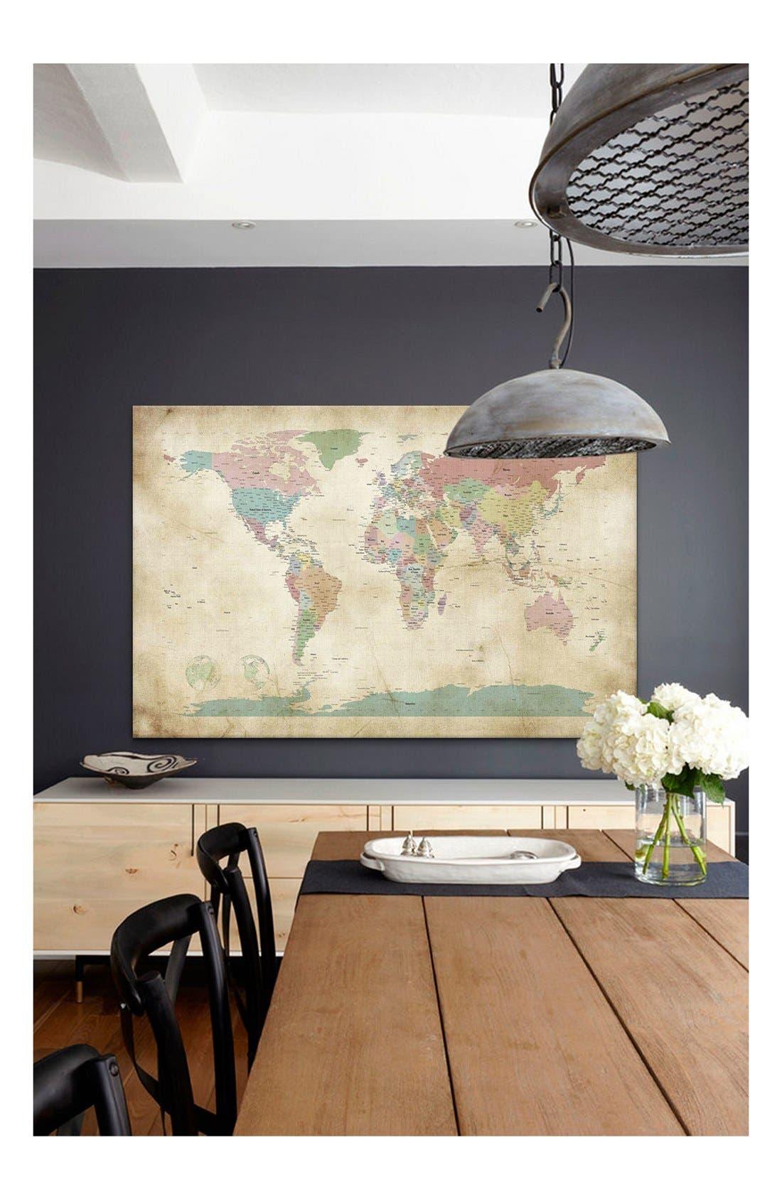 'World Cities Map - Michael Thompsett' Giclée Print Canvas Art,                             Alternate thumbnail 2, color,                             BROWN/ MULTI