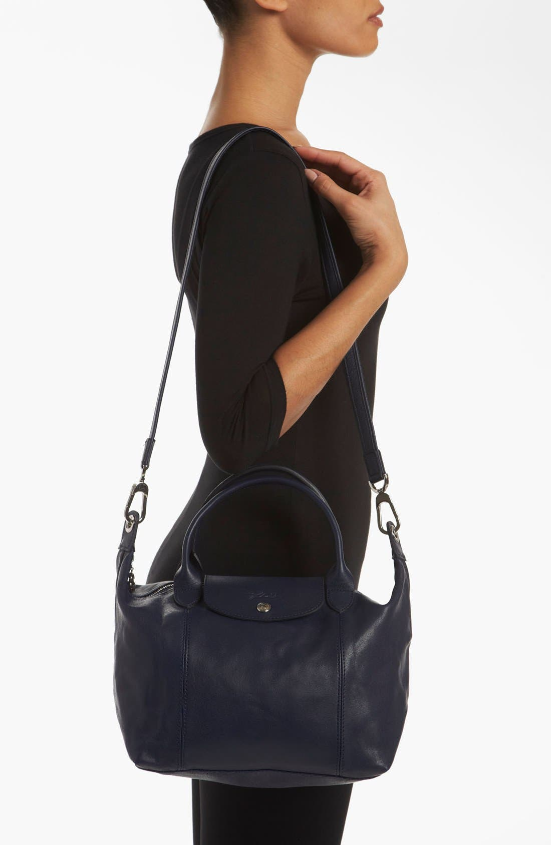Small 'Le Pliage Cuir' Leather Top Handle Tote,                             Alternate thumbnail 36, color,