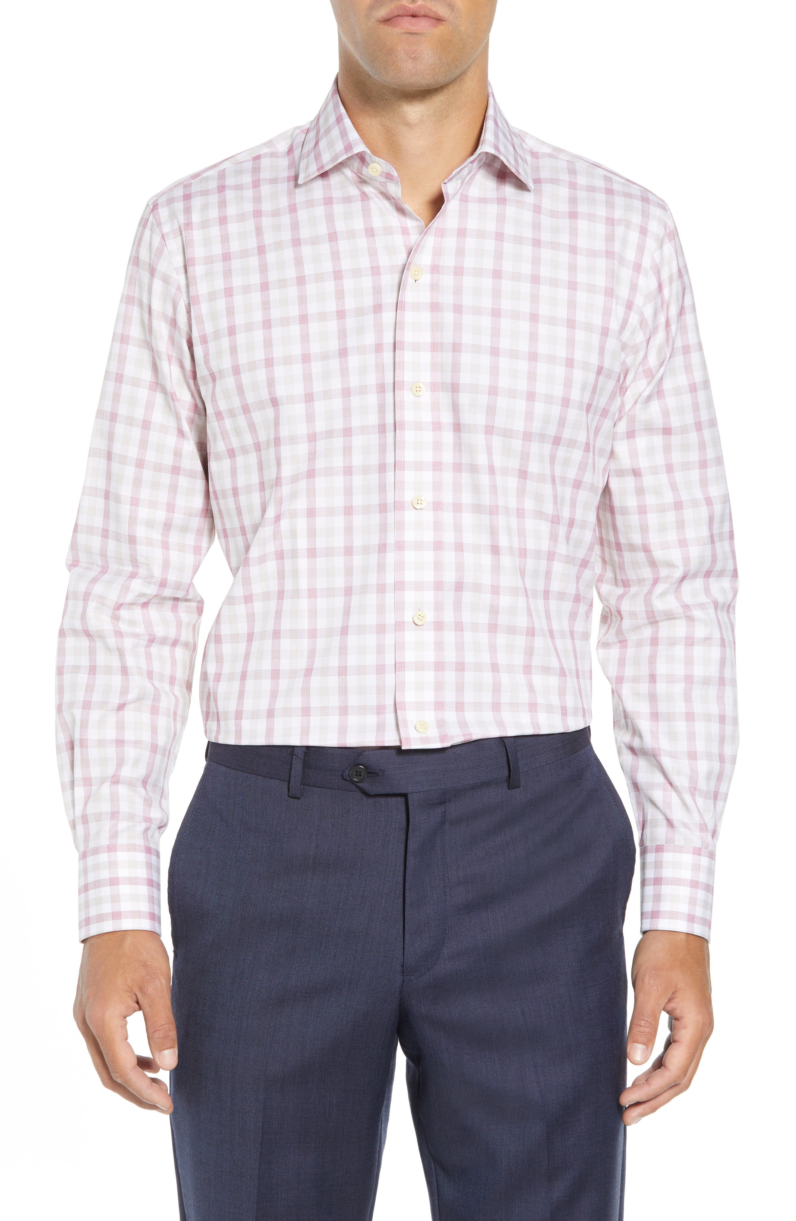 Corbly Trim Fit Check Dress Shirt,                         Main,                         color, RED