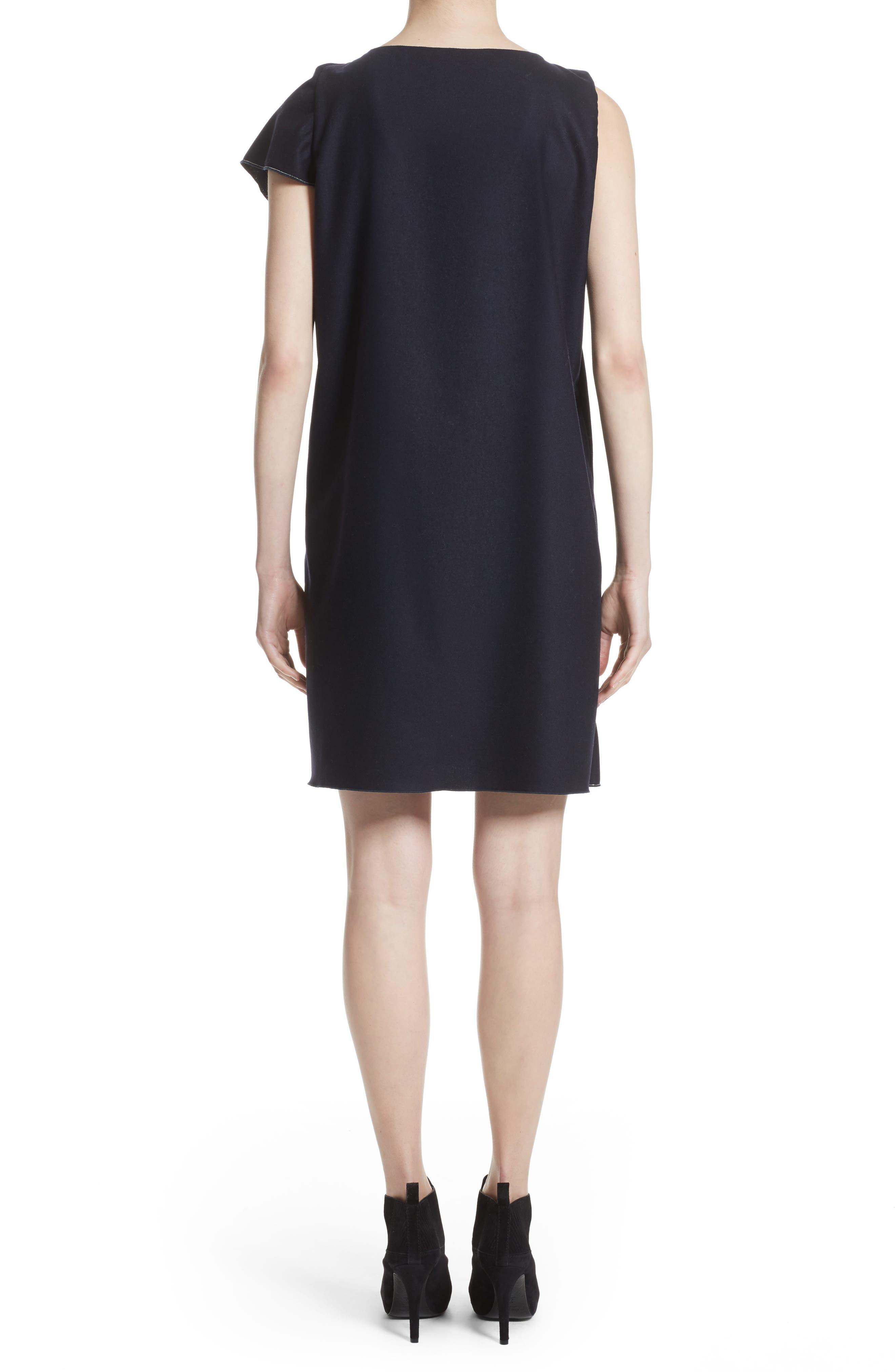 FABIANA FILIPPI,                             Stretch Wool & Cashmere Ruffle Dress,                             Alternate thumbnail 2, color,                             400