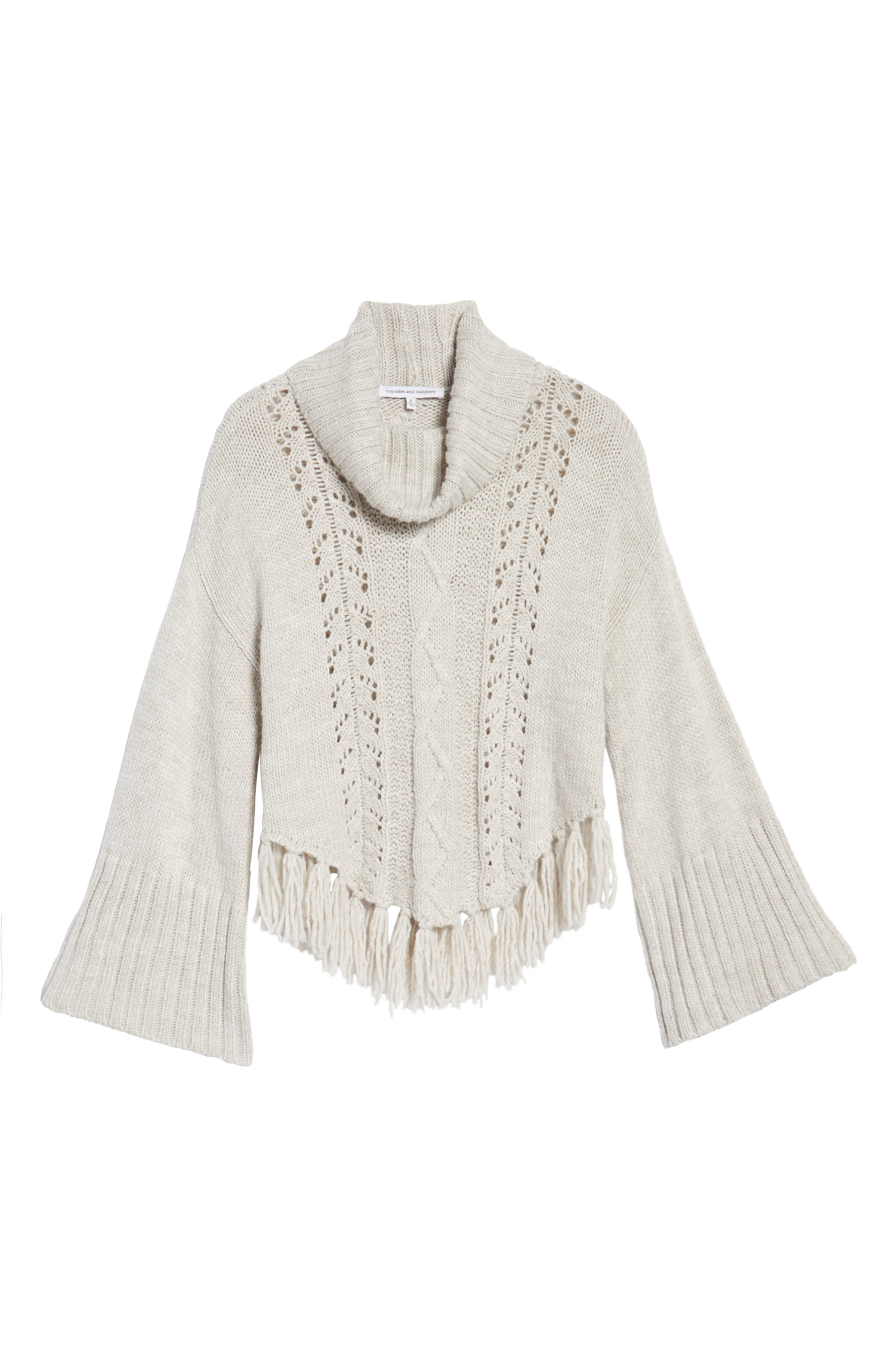 Prilla Fringe Cowl Neck Sweater,                             Alternate thumbnail 6, color,