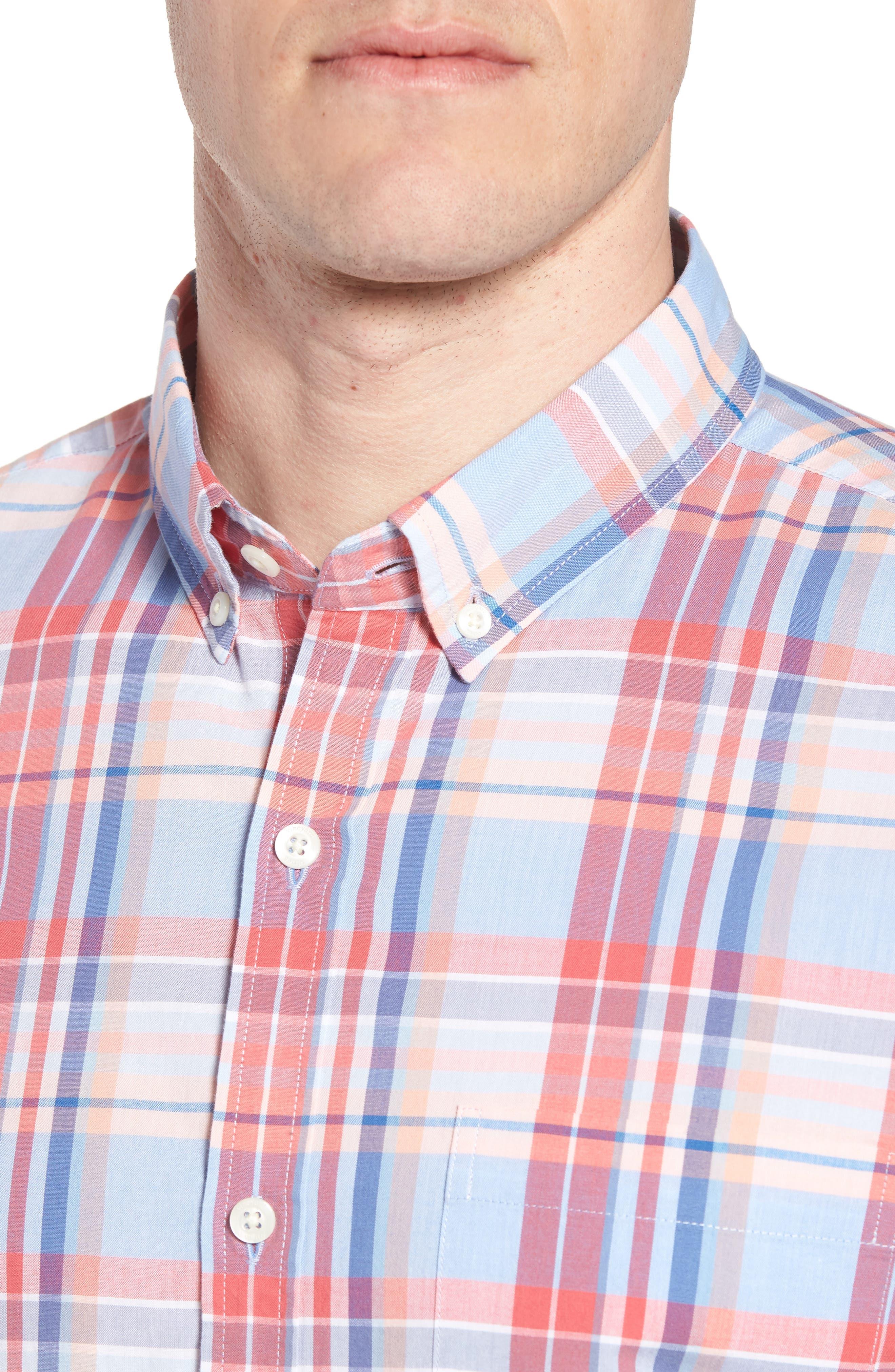 Fox Town Slim Fit Plaid Sport Shirt,                             Alternate thumbnail 4, color,                             628