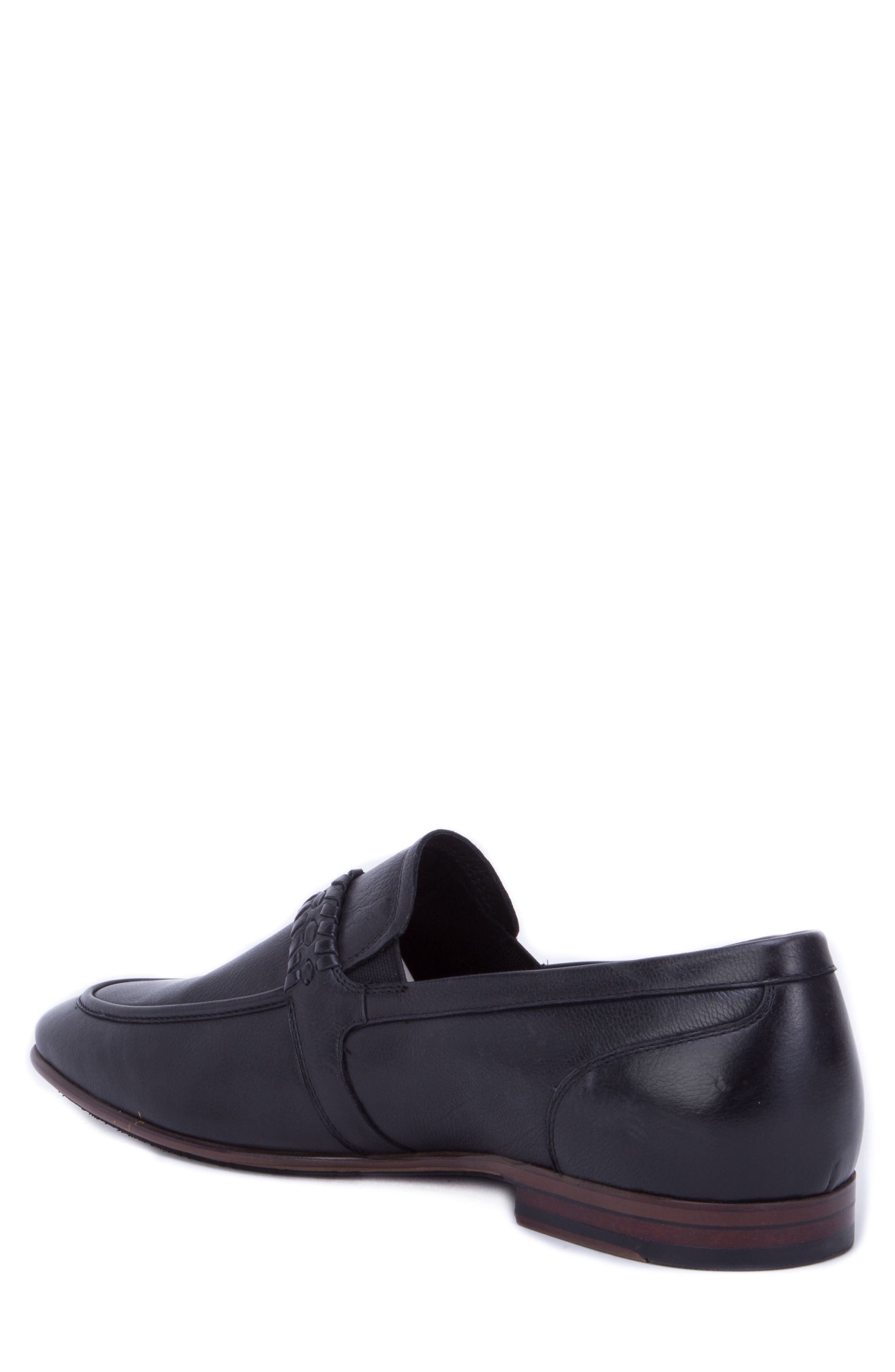 Robinson Whipstitch Apron Toe Loafer,                             Alternate thumbnail 2, color,                             BLACK LEATHER