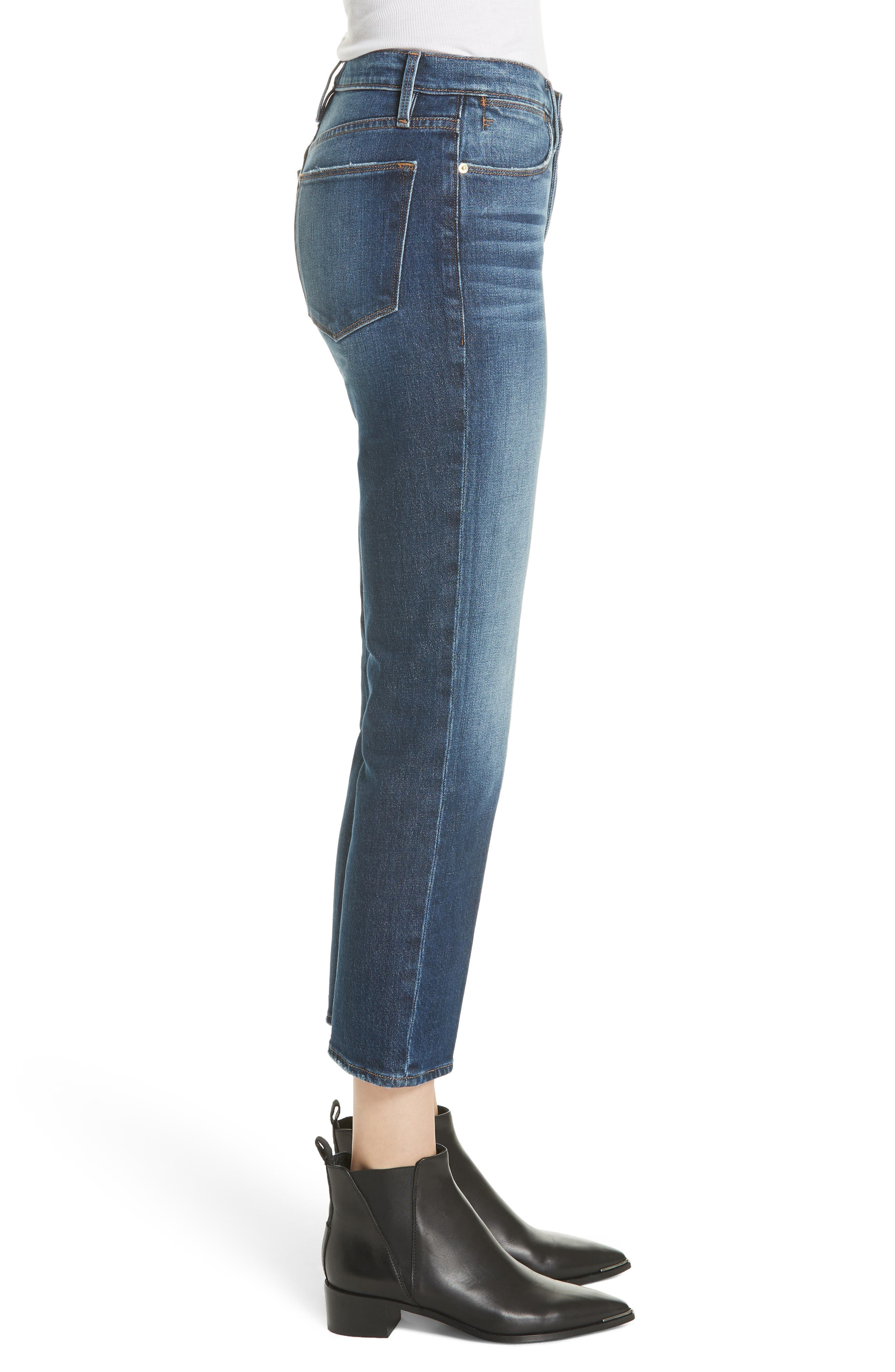 Le High Straight Leg Jeans,                             Alternate thumbnail 3, color,                             401