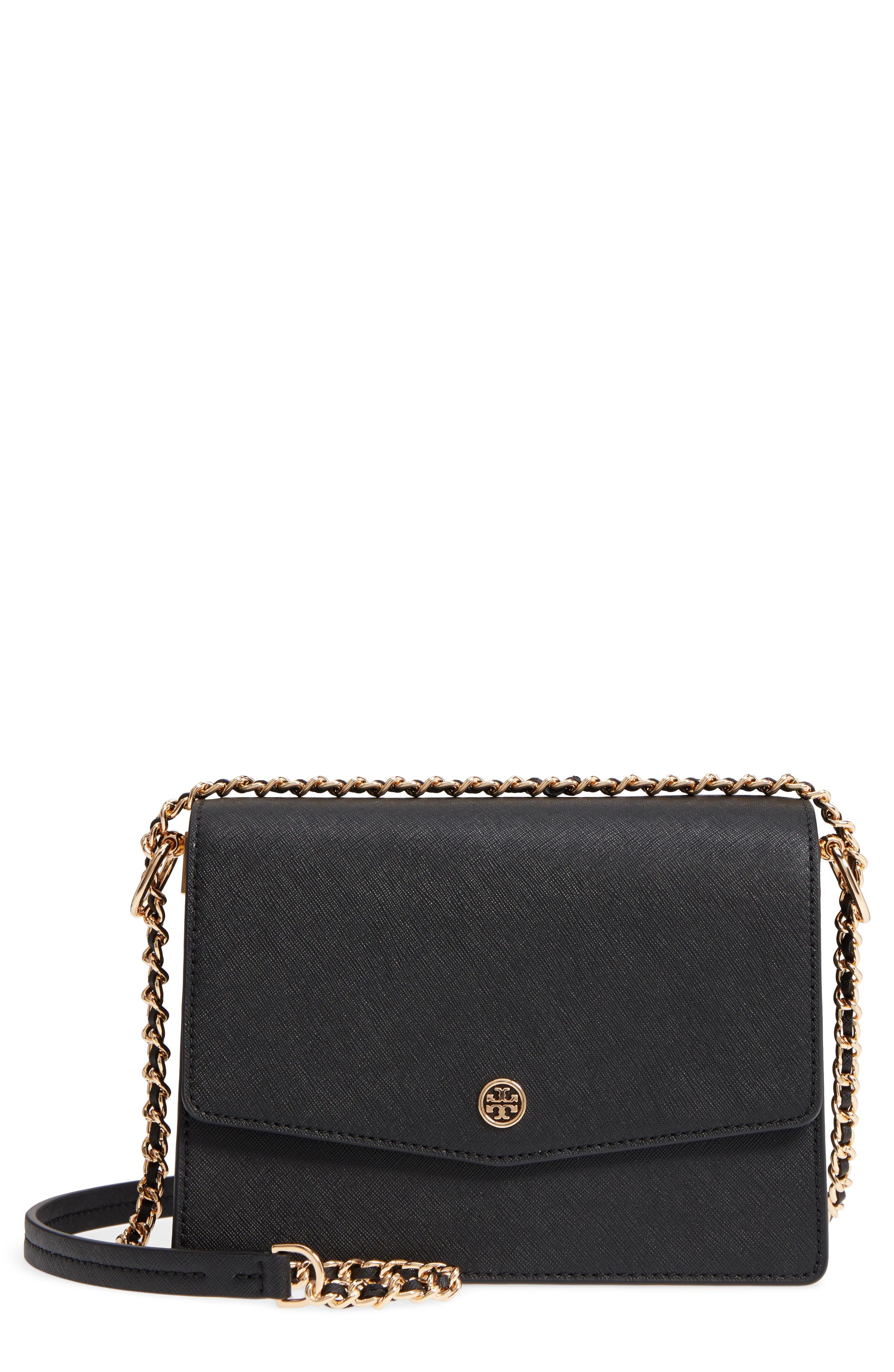 Robinson Convertible Leather Shoulder Bag,                             Main thumbnail 1, color,                             BLACK / ROYAL NAVY