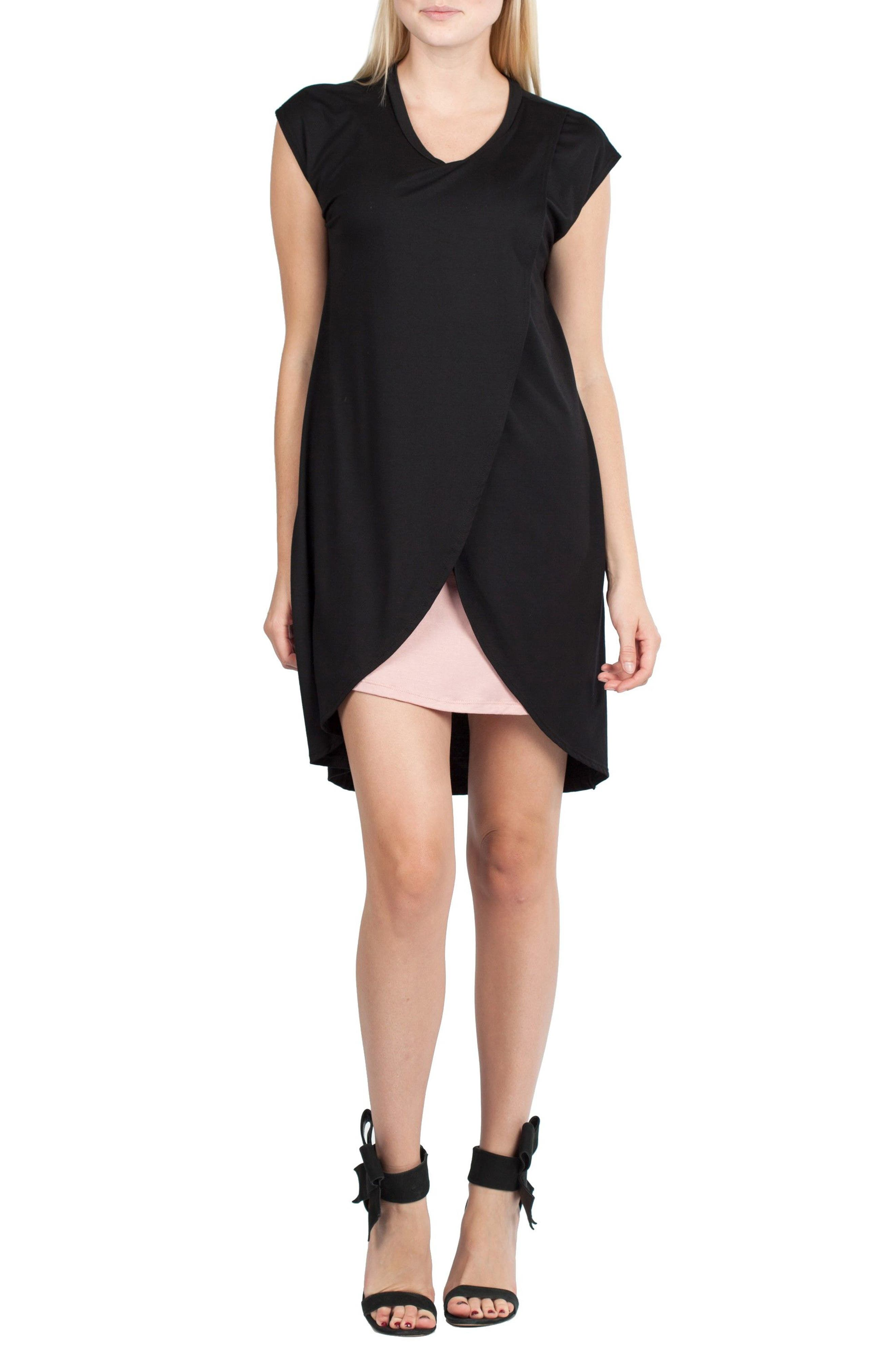 SAVI MOM Lille Maternity/Nursing Tunic Dress, Main, color, BLACK/ DUSTY PINK CONTRAST