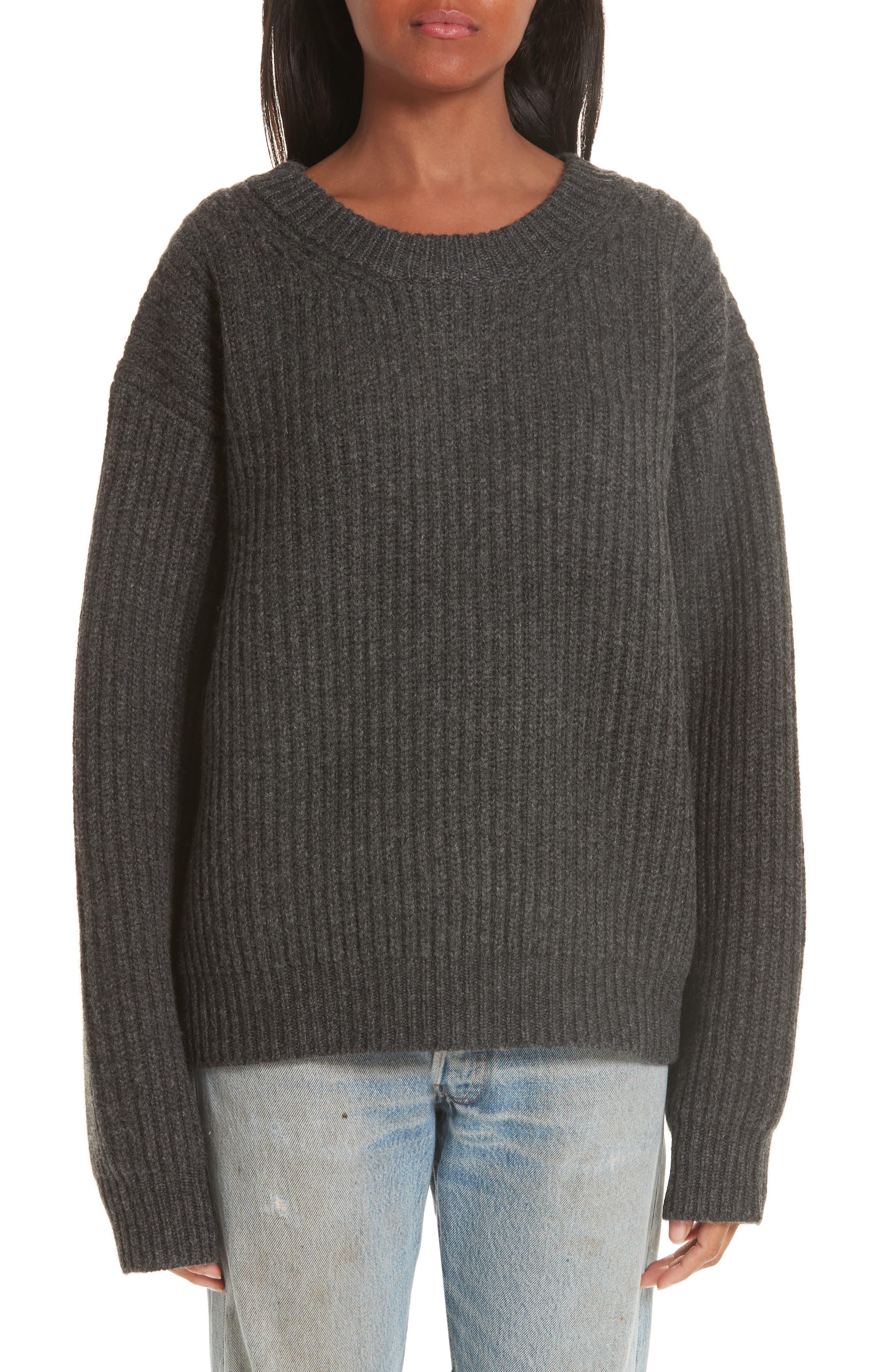 Ribbed Oversized Sweater,                             Main thumbnail 1, color,                             DARK GREY