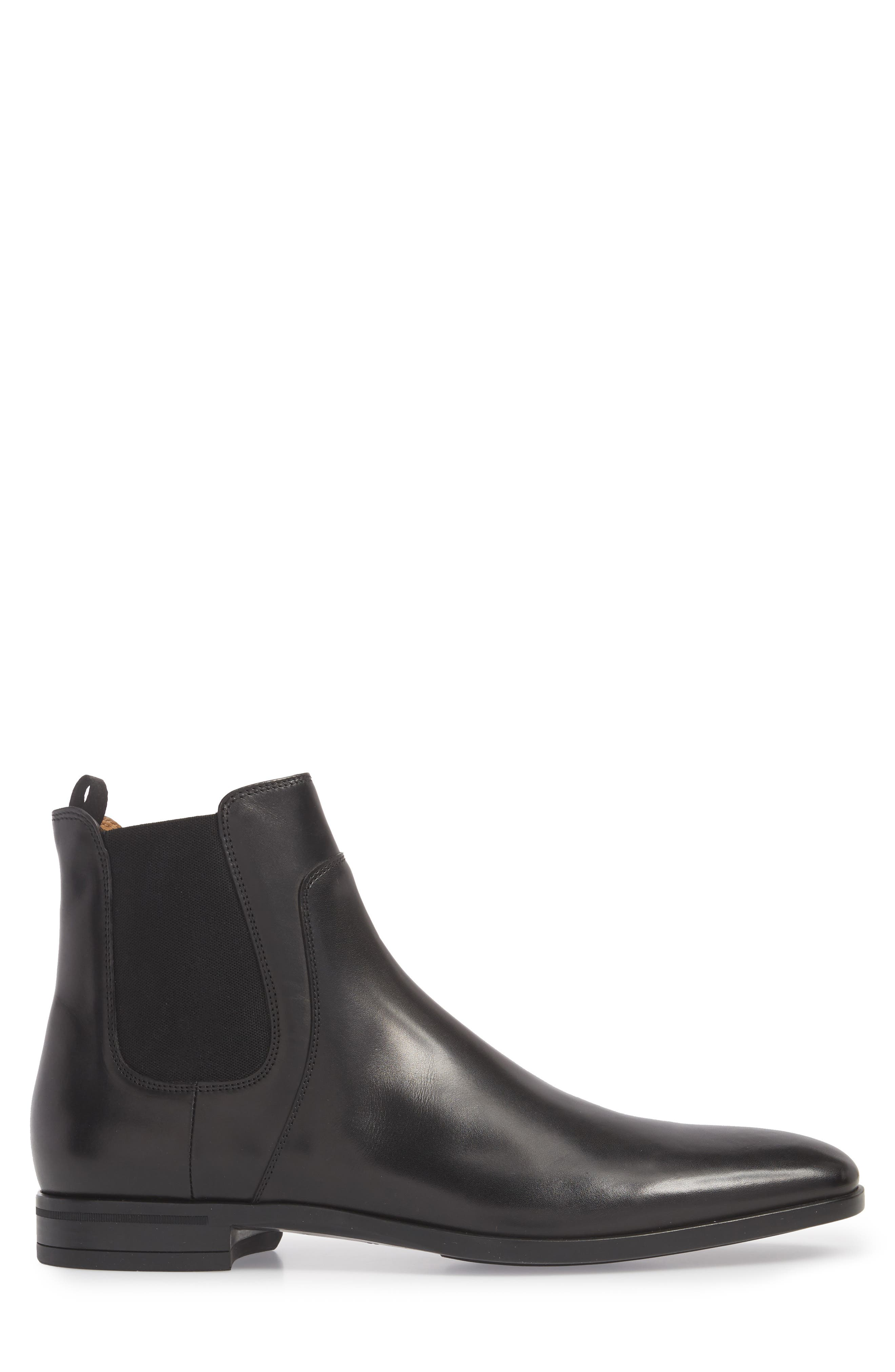 Hugo Boss Portland Mid Chelsea Boot,                             Alternate thumbnail 3, color,                             BLACK LEATHER