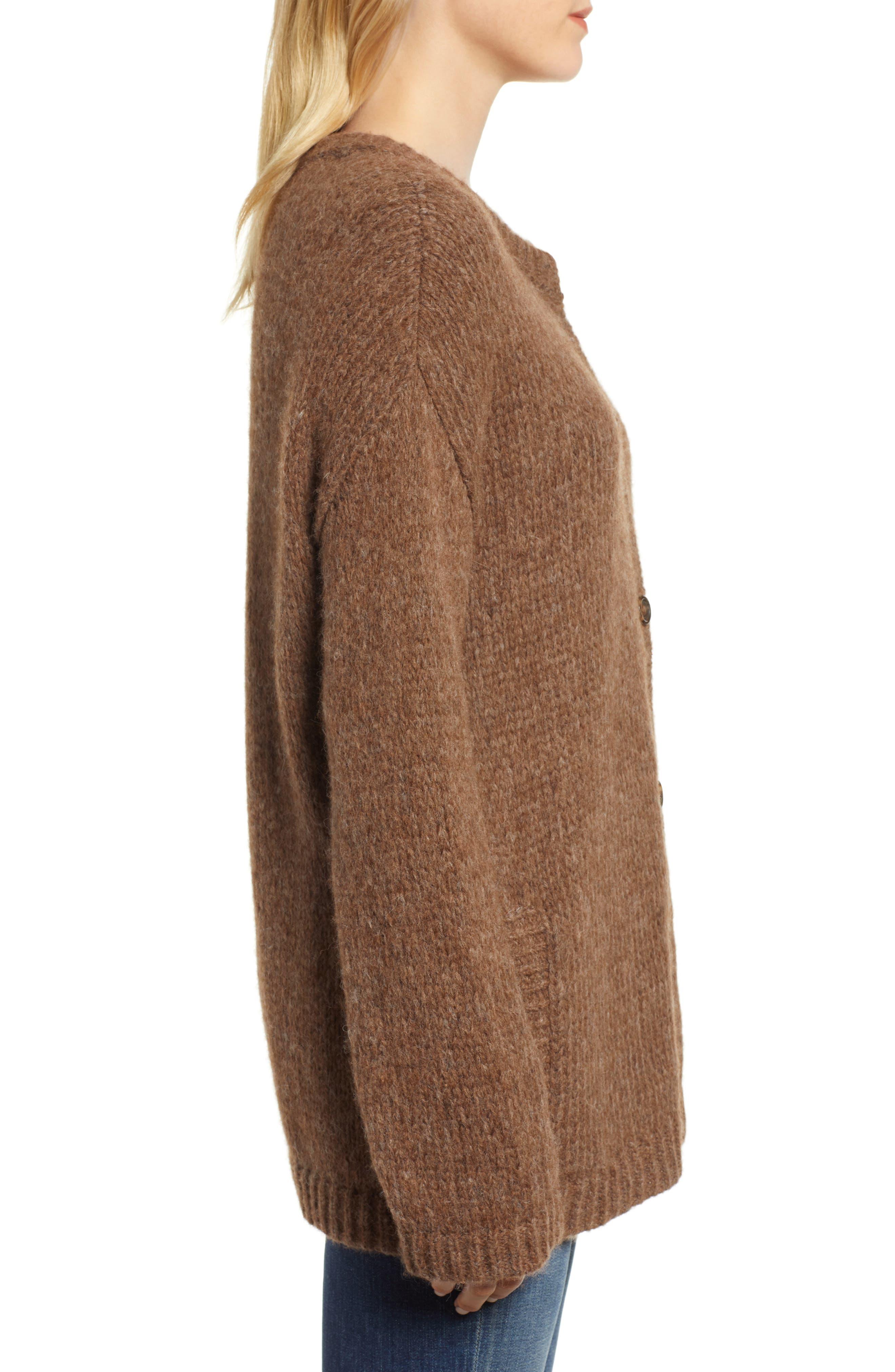 Alpaca Wool Blend Cardigan,                             Alternate thumbnail 3, color,                             CHOCOLATE