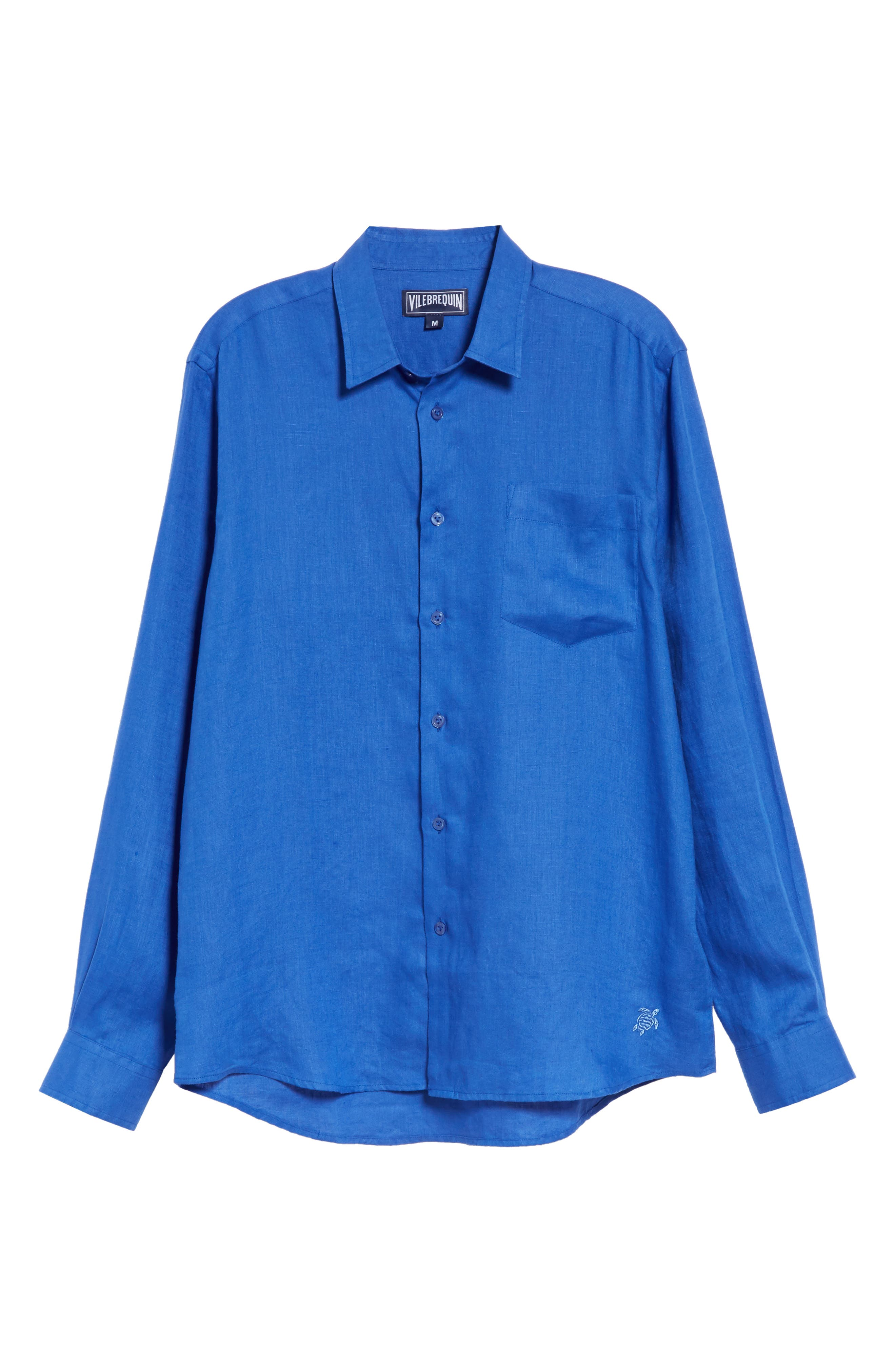 Linen Sport Shirt,                             Alternate thumbnail 5, color,                             BLUE 2