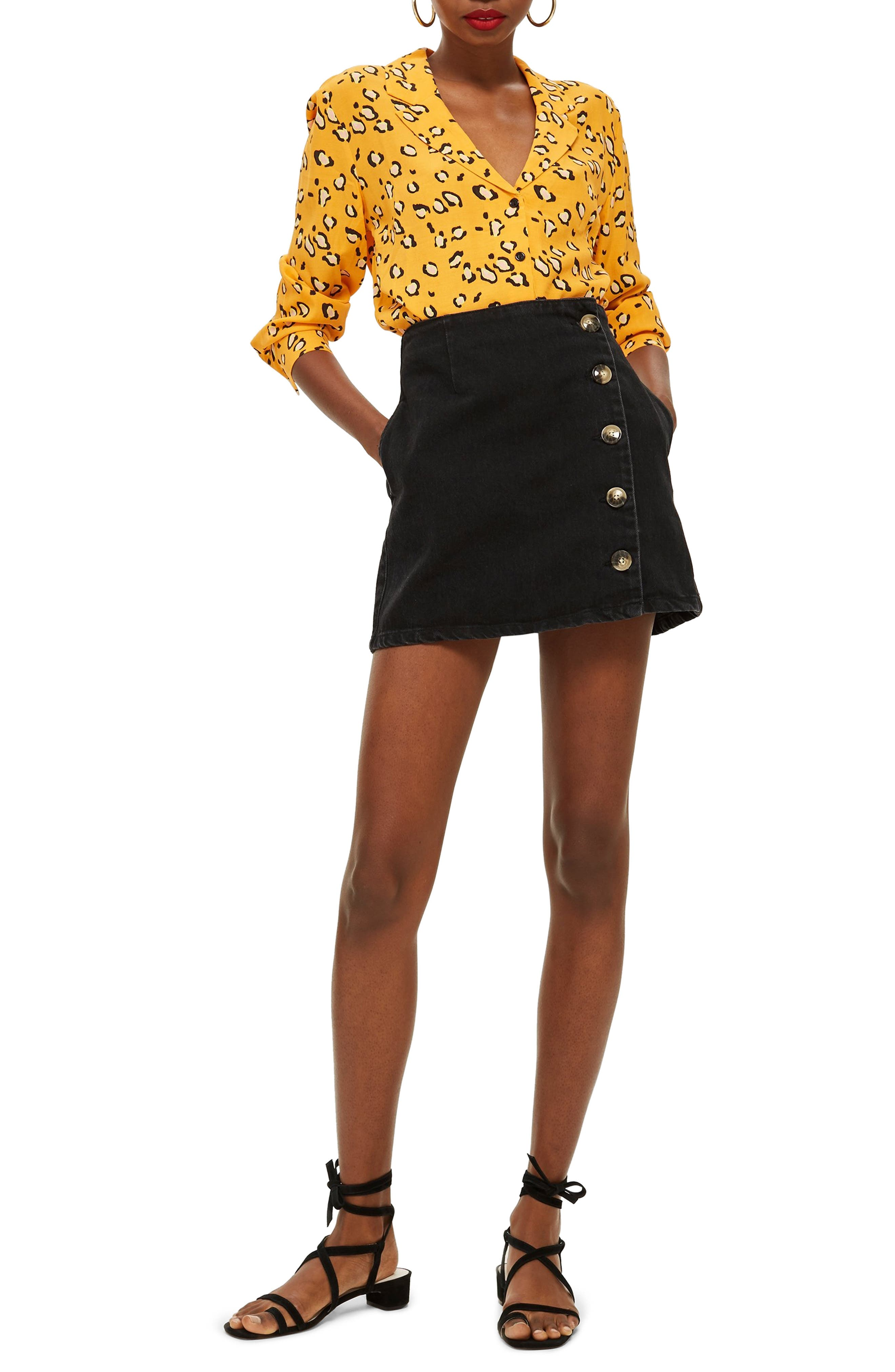 Horn Button Denim Miniskirt,                             Main thumbnail 1, color,                             WASHED BLACK