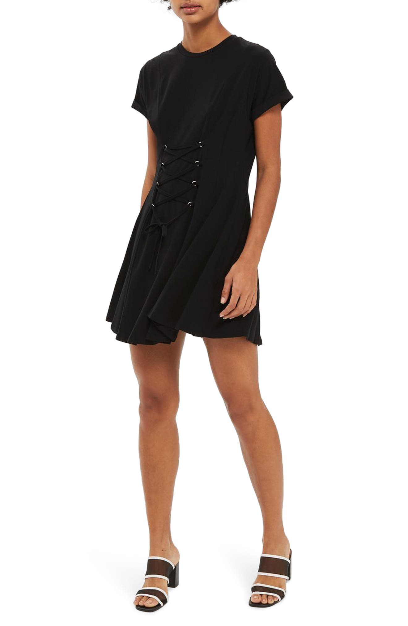 Corset Front Flippy Tunic Dress,                         Main,                         color, 001