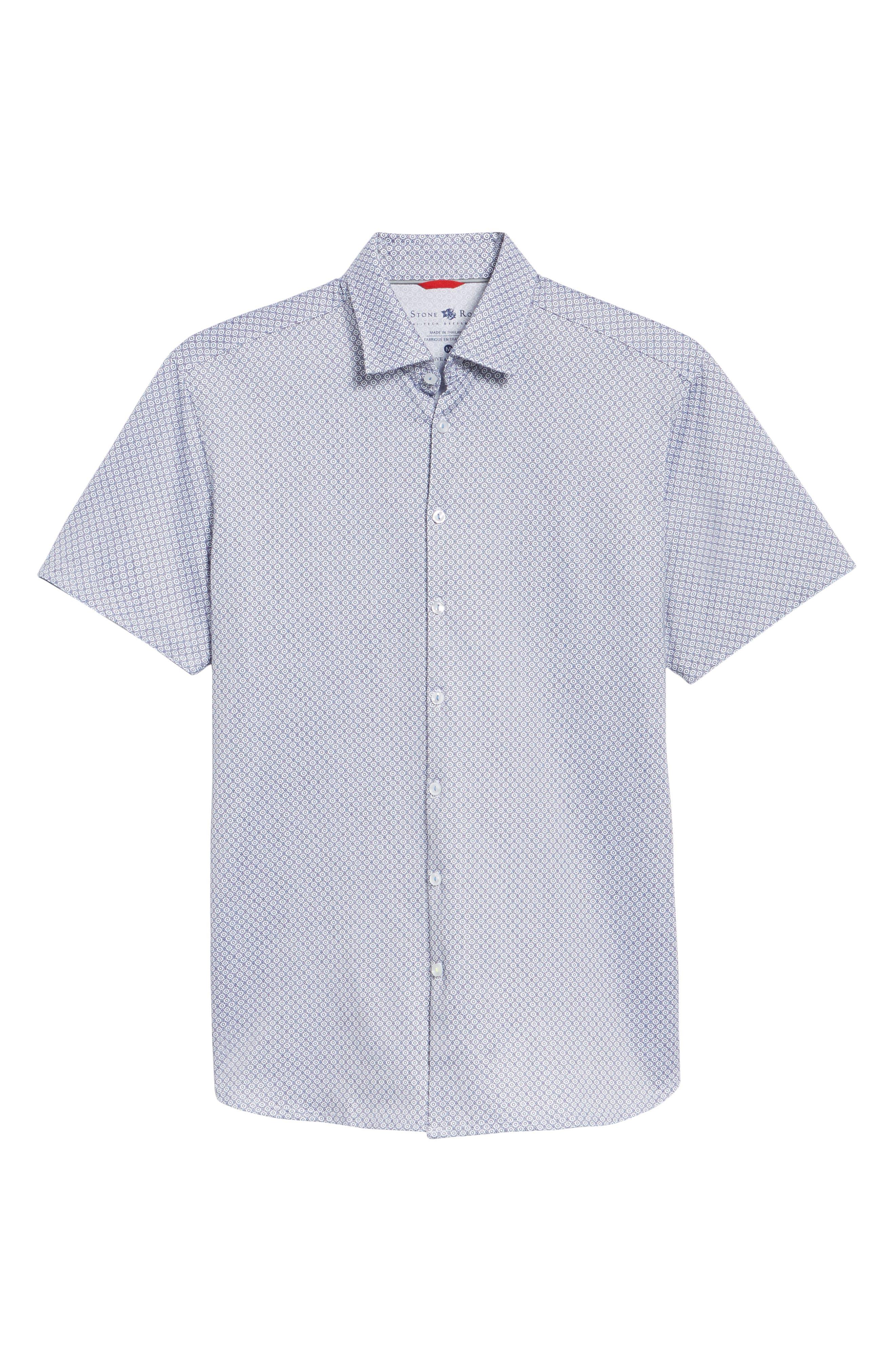 Contemporary Fit Geo Tech Sport Shirt,                             Alternate thumbnail 6, color,                             WHITE