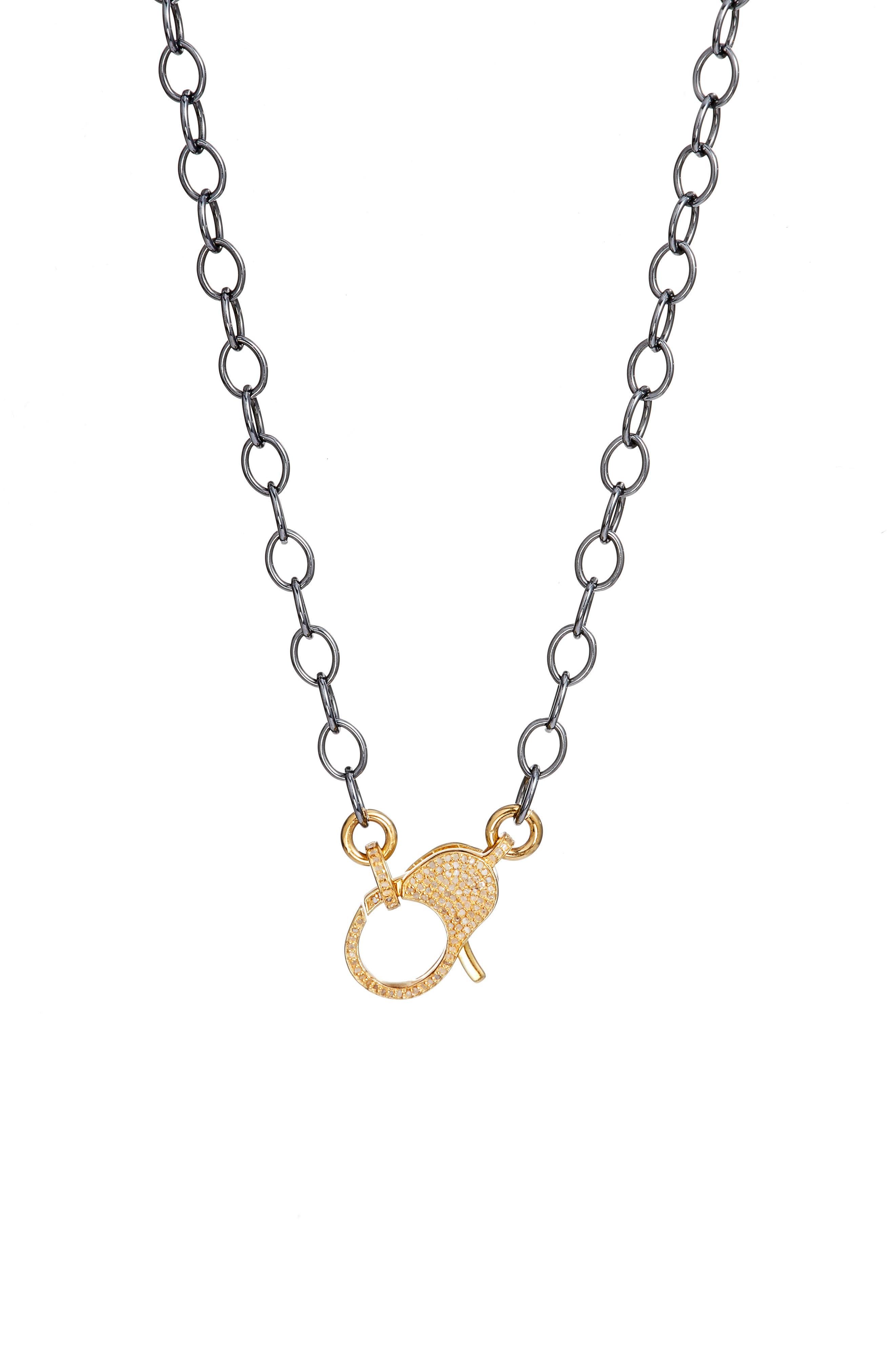Jane Basch Pavé Lock Chain Necklace,                             Main thumbnail 1, color,                             GOLD/ BLACK