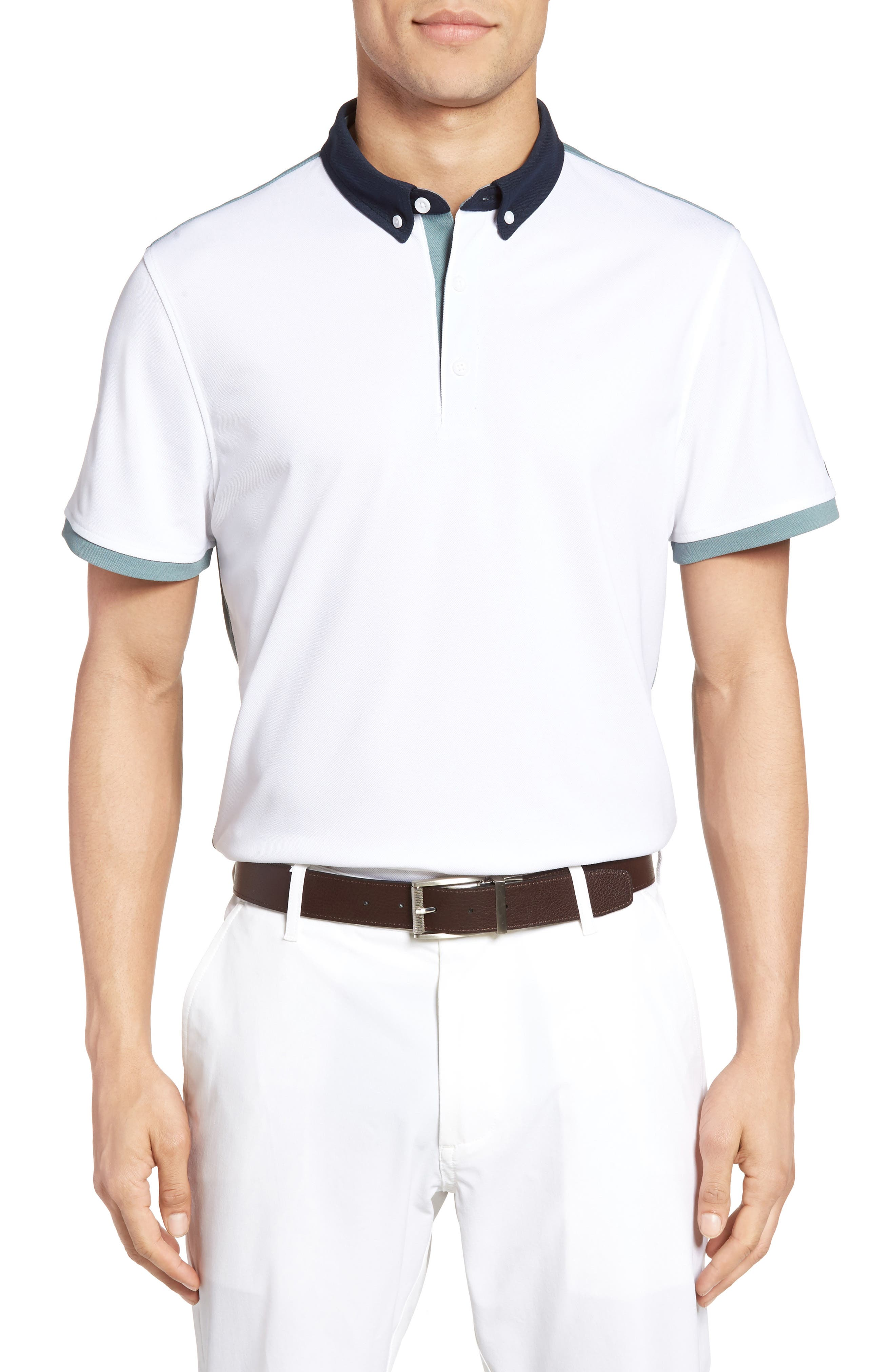 The Deuce Colorblock Piqué Polo,                             Main thumbnail 1, color,                             378