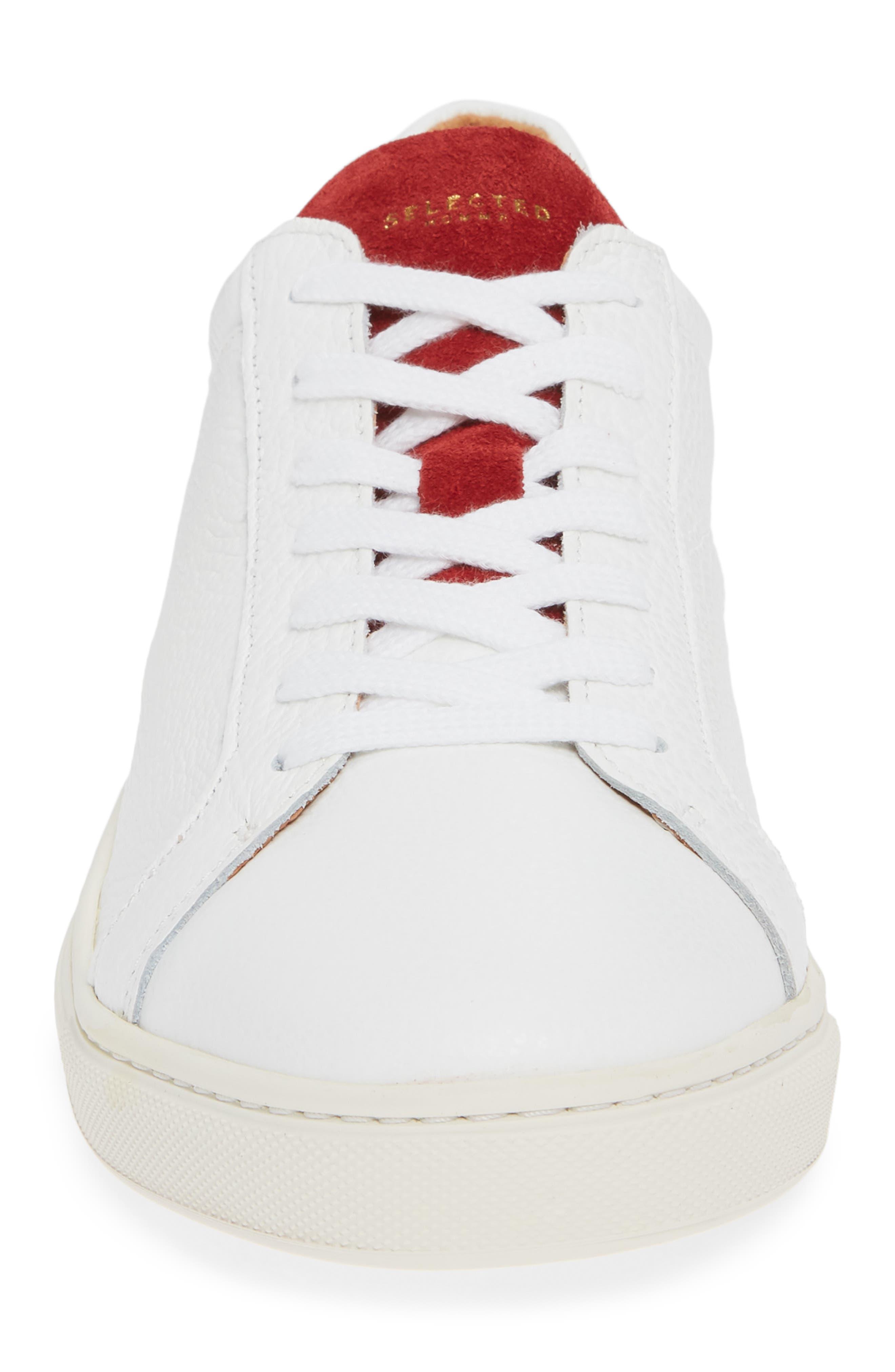 David Colorblock Sneaker,                             Alternate thumbnail 4, color,                             WHITE/ BARBADOS CHERRY