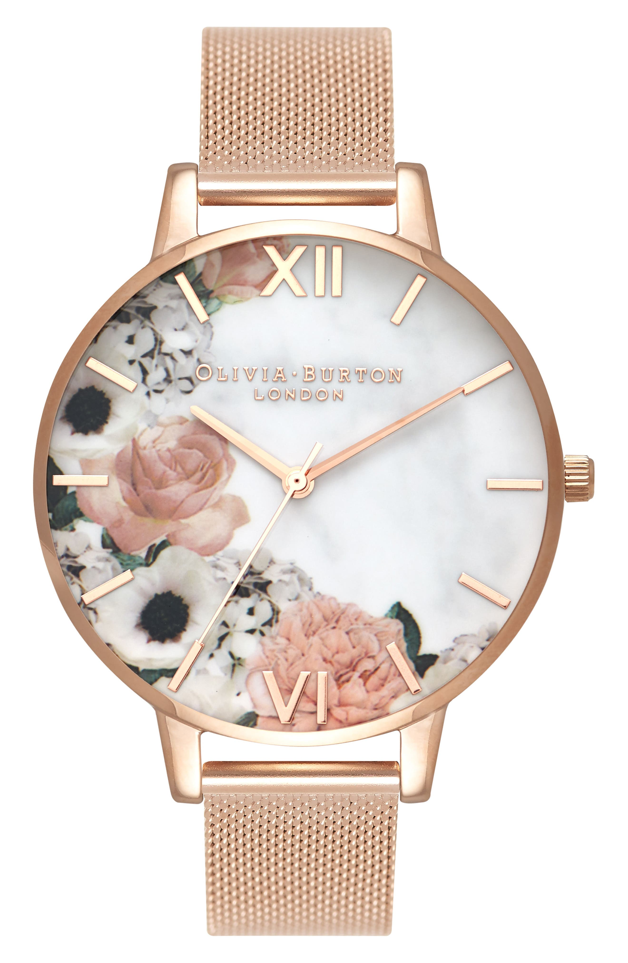 Marble Floral Mesh Strap Watch, 38mm,                             Main thumbnail 1, color,                             ROSE GOLD/FLORAL/ ROSE GOLD