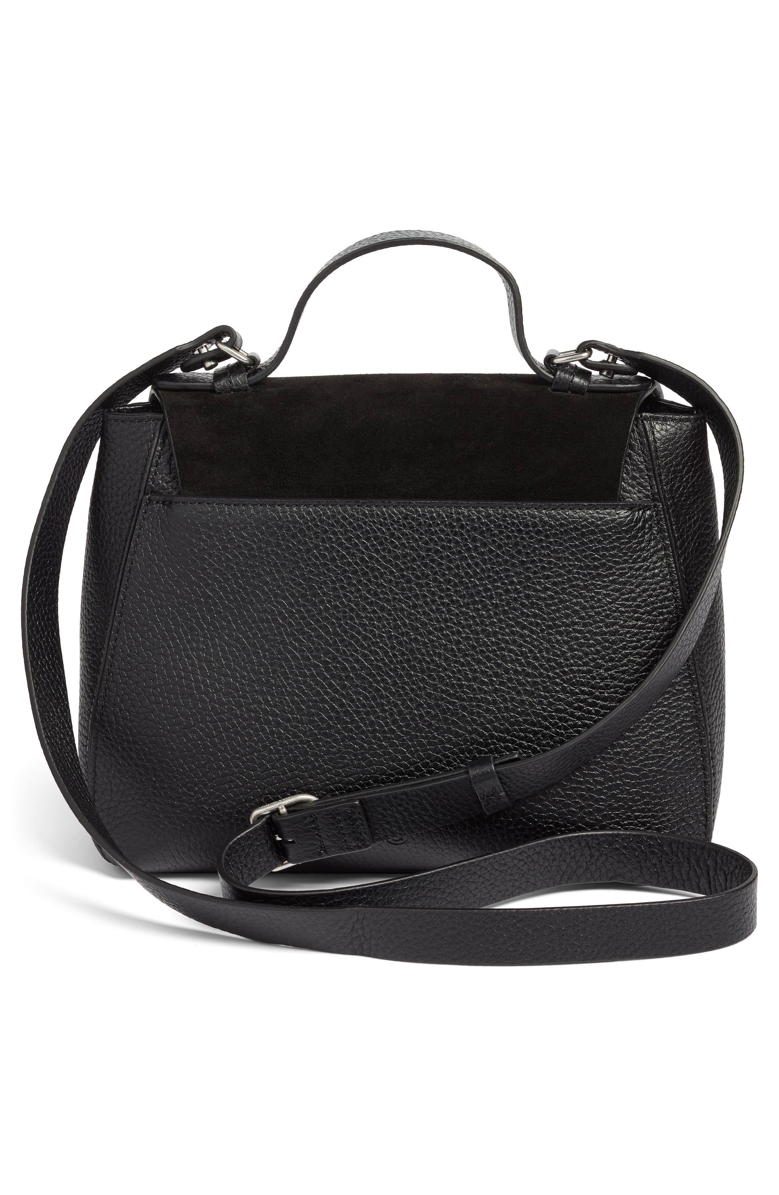 Skyler Leather Top Handle Bag,                             Alternate thumbnail 3, color,                             BLACK