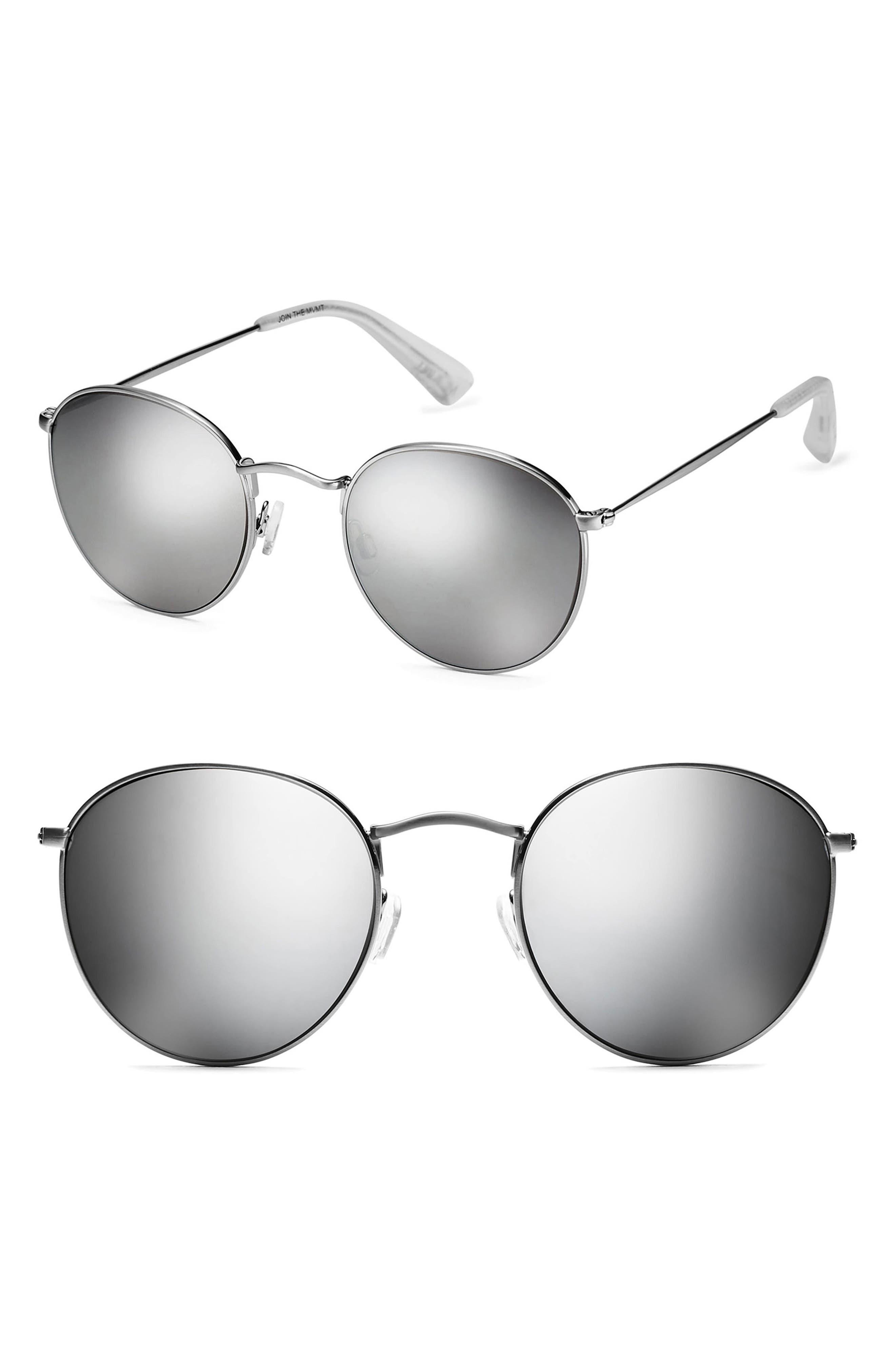 Icon 50mm Polarized Wire Sunglasses,                         Main,                         color, SILVER MIRROR