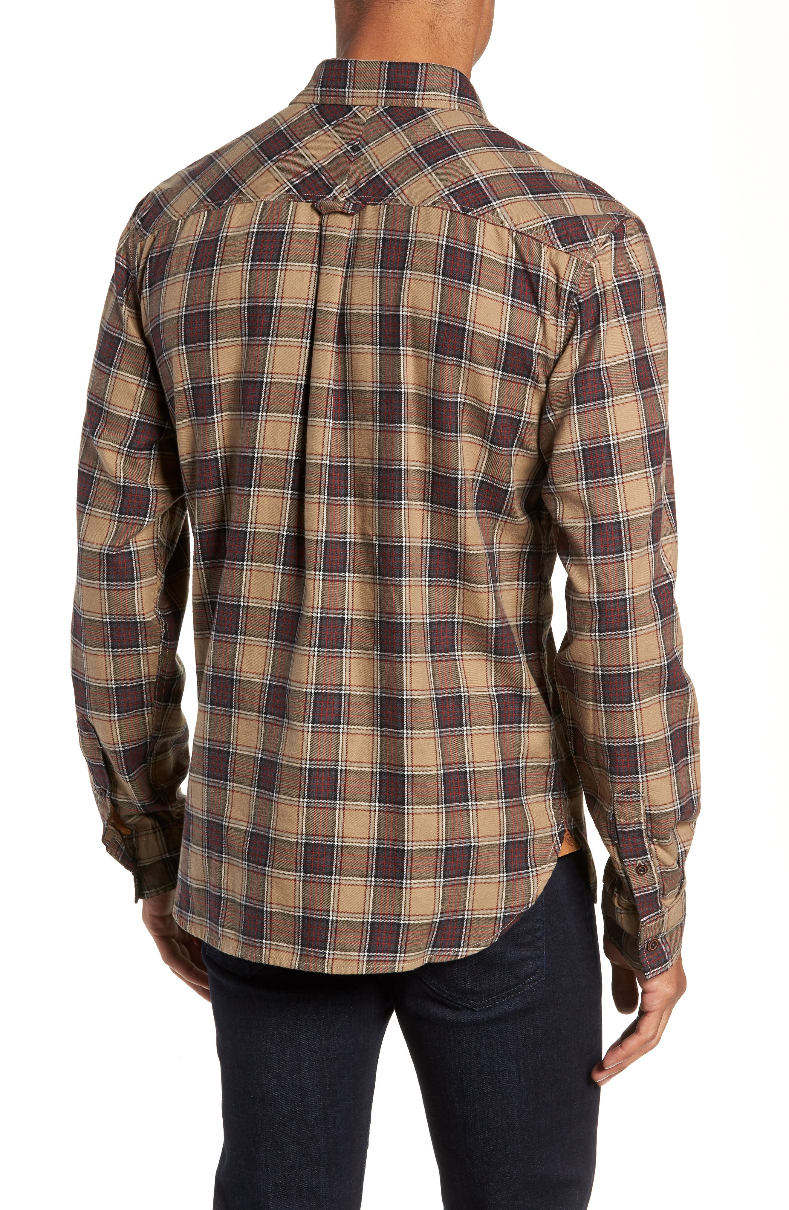 Truman Check Sport Shirt,                             Alternate thumbnail 3, color,                             GREY/ GOLD/ RED