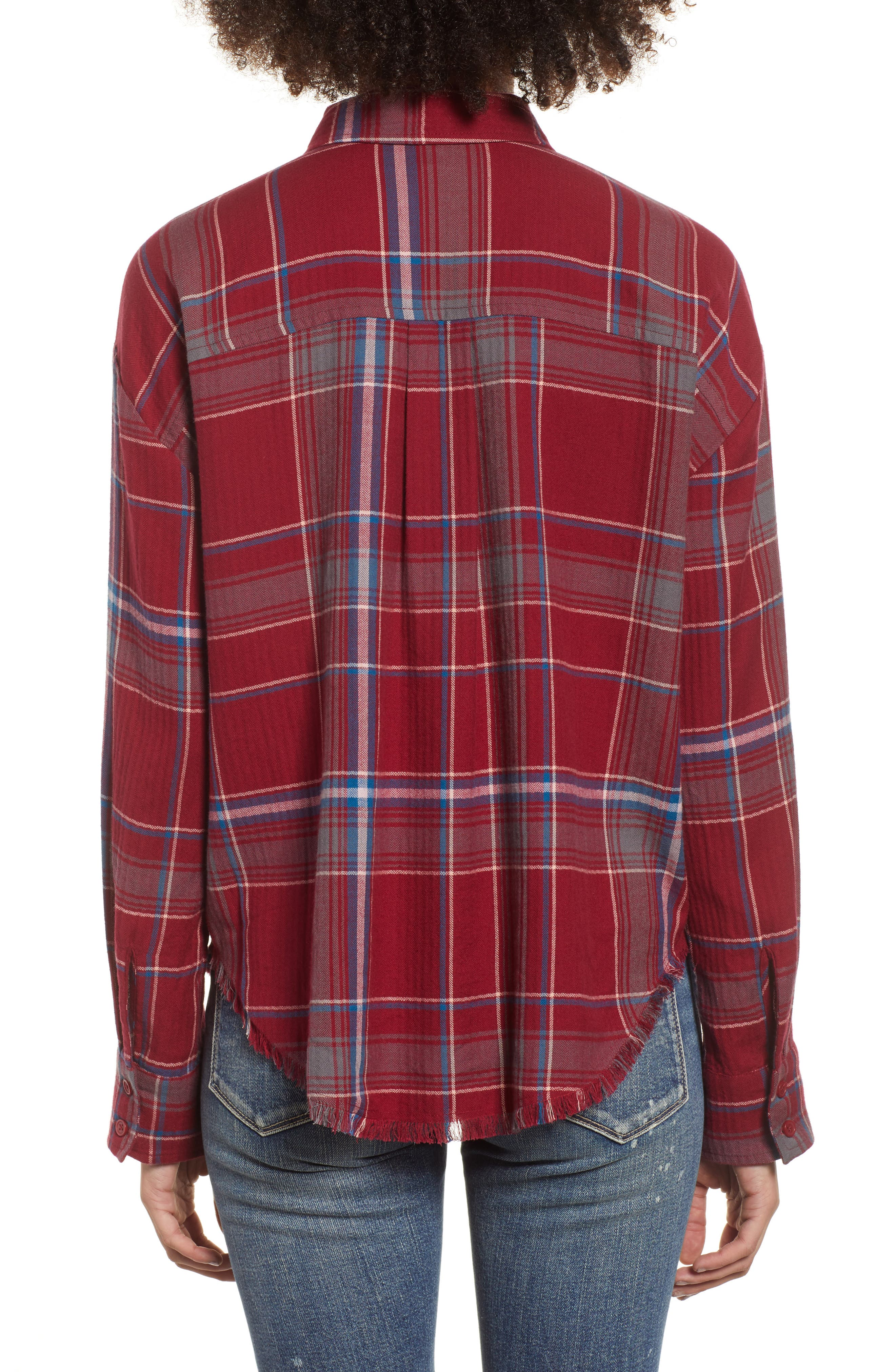 Frayed Edge Plaid Shirt,                             Alternate thumbnail 3, color,                             RED RUMBA NICOLE PLAID